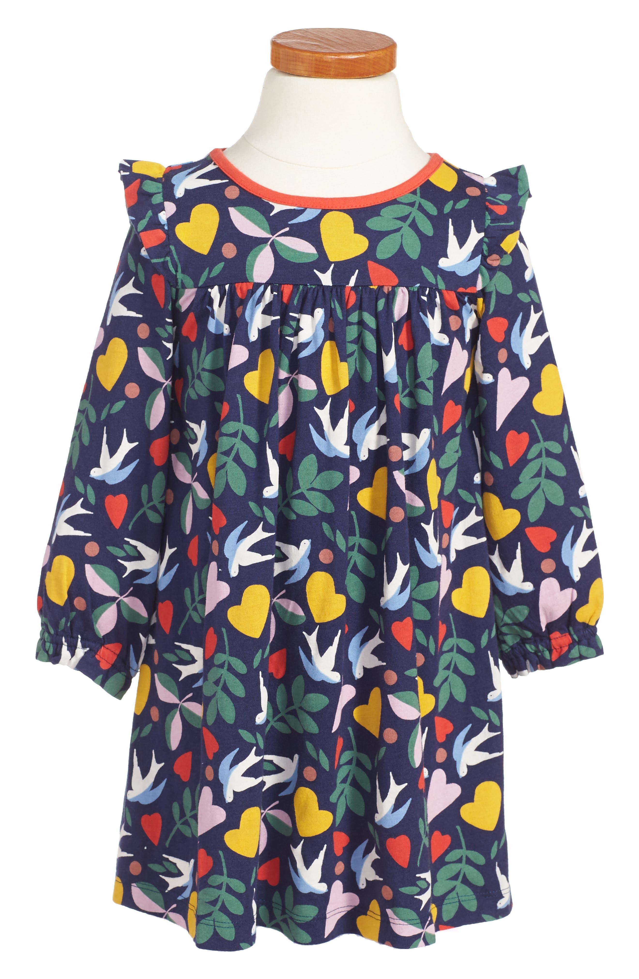Frill Jersey Dress,                             Main thumbnail 1, color,                             Blue Lovebirds