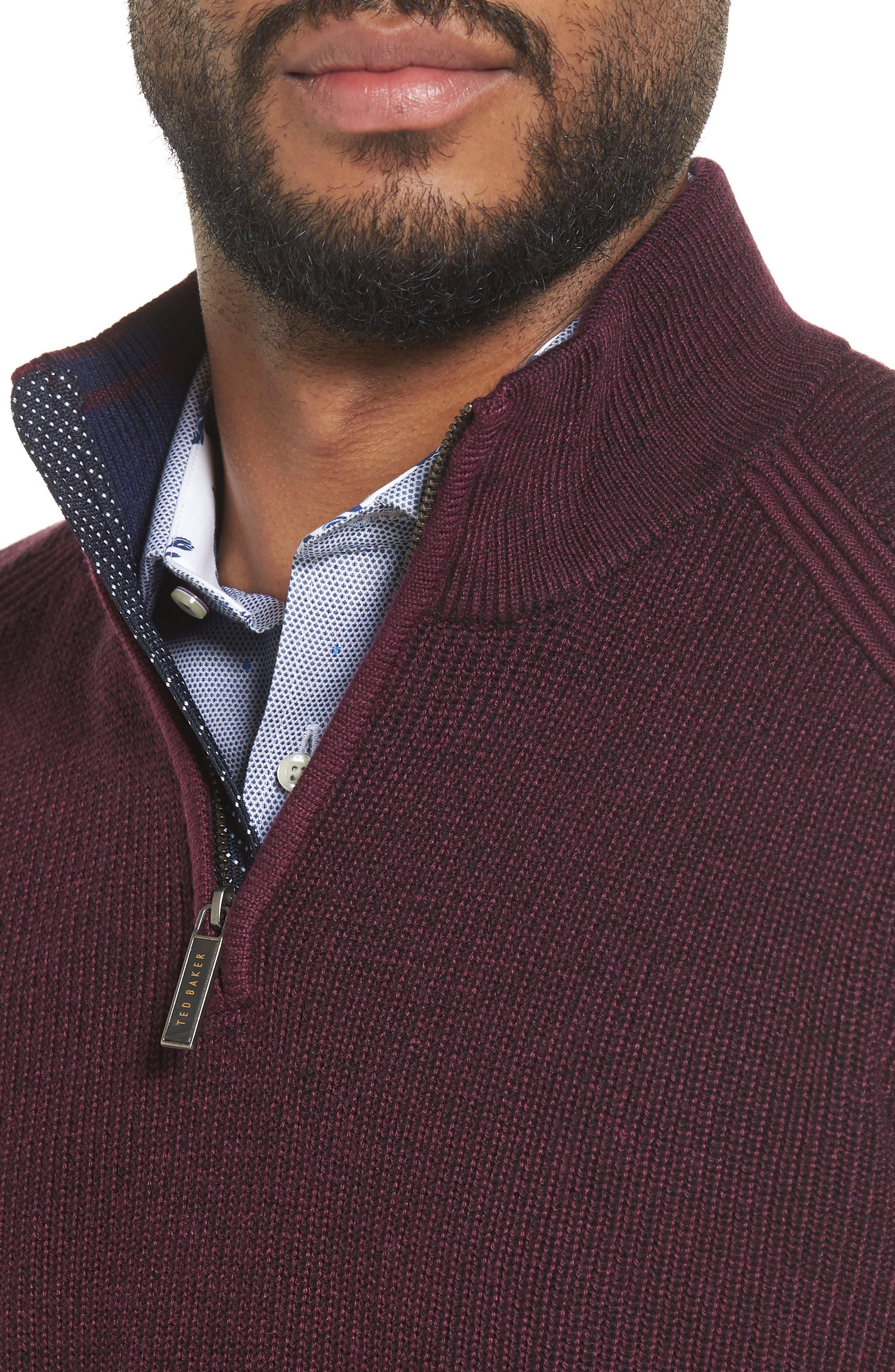 Stach Quarter Zip Sweater,                             Alternate thumbnail 4, color,                             Purple