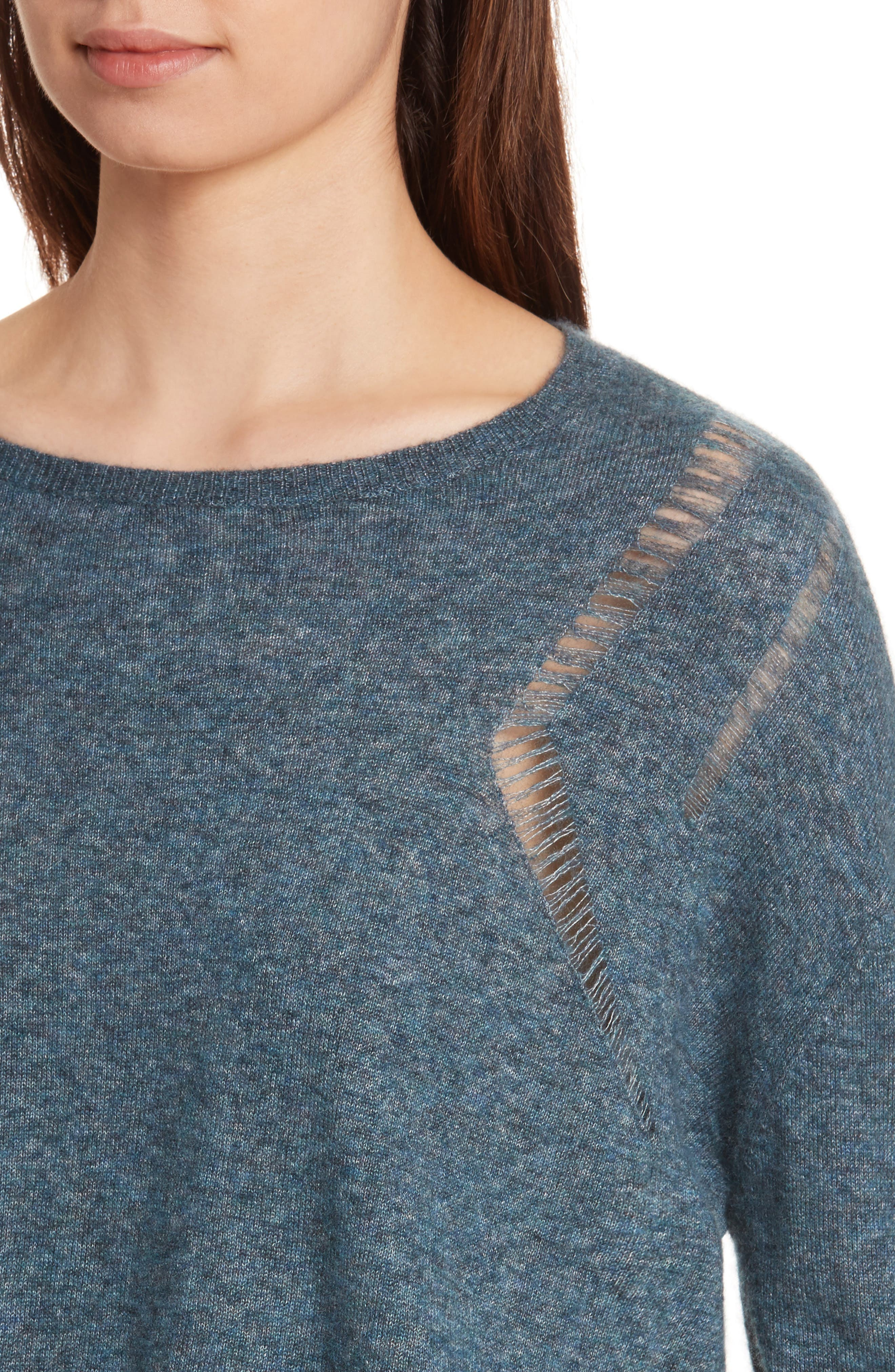 Boxy Ladder Stitch Cashmere & Silk Sweater,                             Alternate thumbnail 4, color,                             Marlin