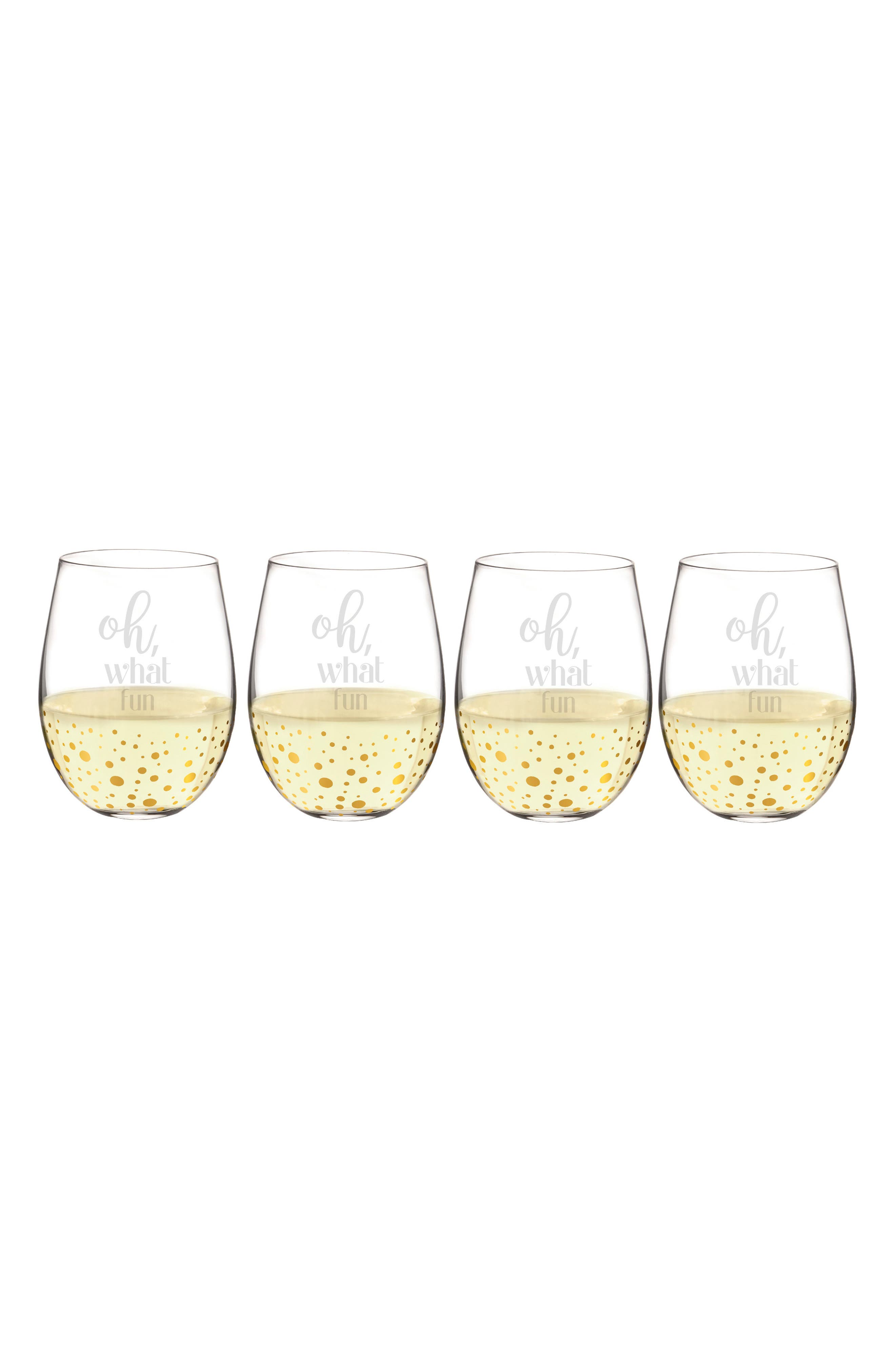 Cathy's Concepts Oh What Fun Set of 4 Stemless Wine Glasses
