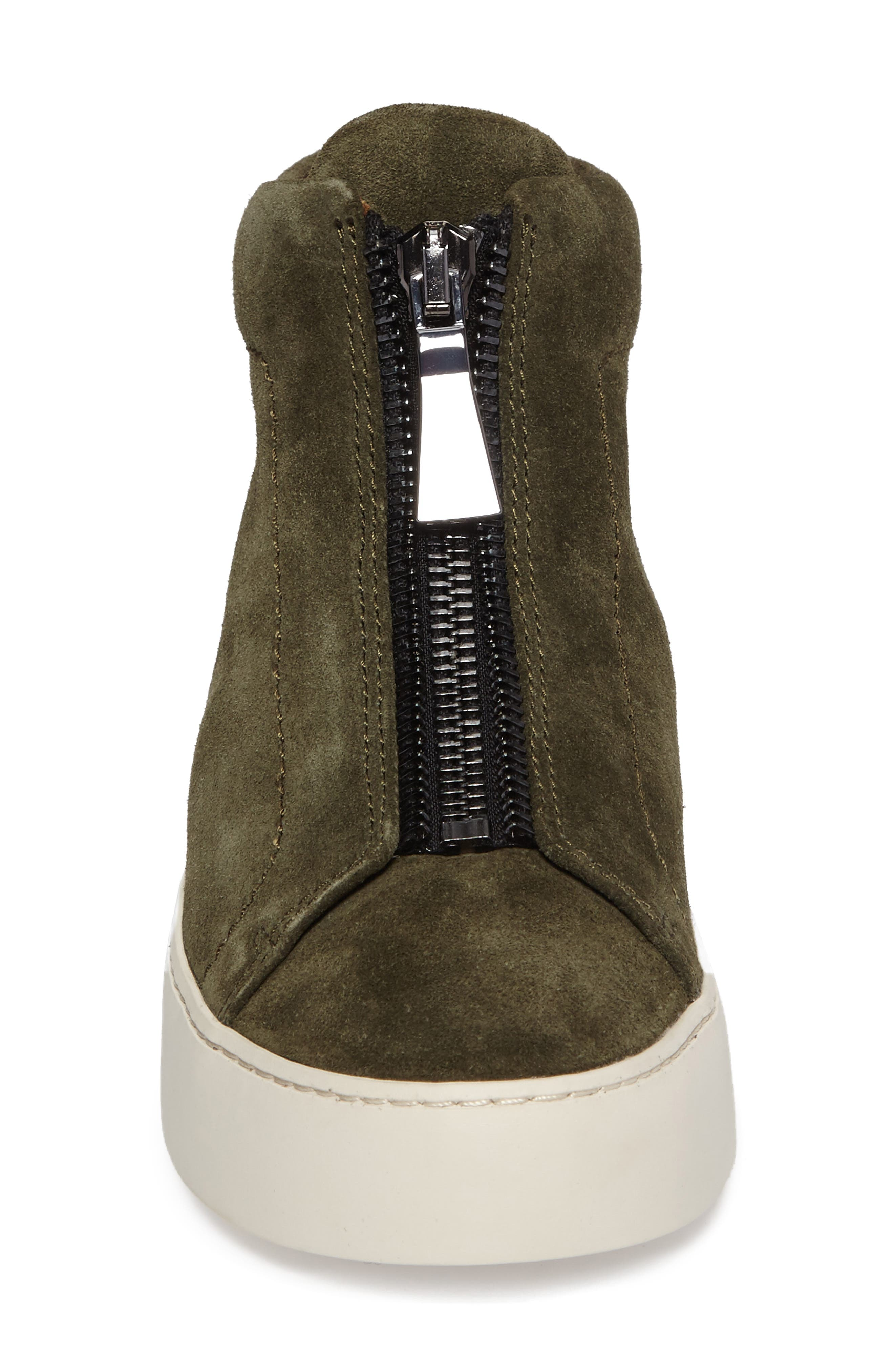 Lena Zip High Top Sneaker,                             Alternate thumbnail 4, color,                             Forest Suede