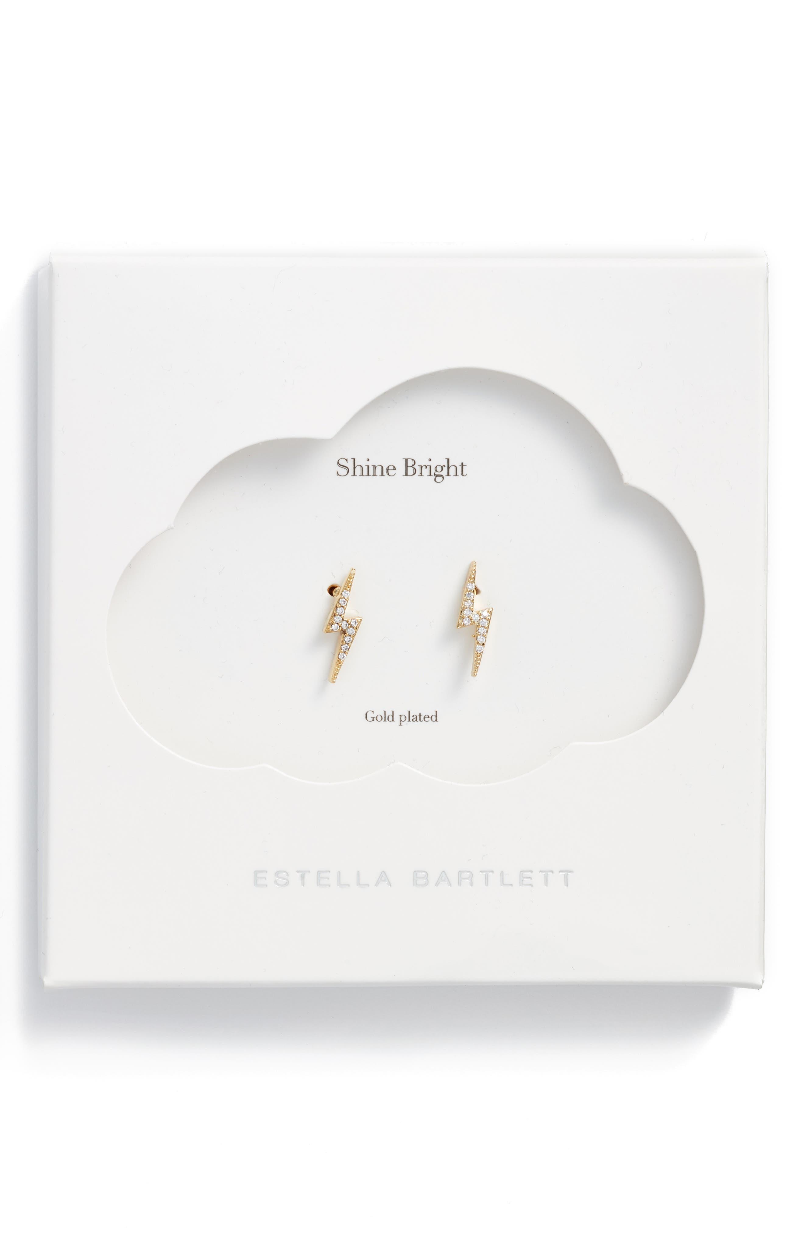 Crystal Lightning Bolt Stud Earrings,                             Main thumbnail 1, color,                             Gold