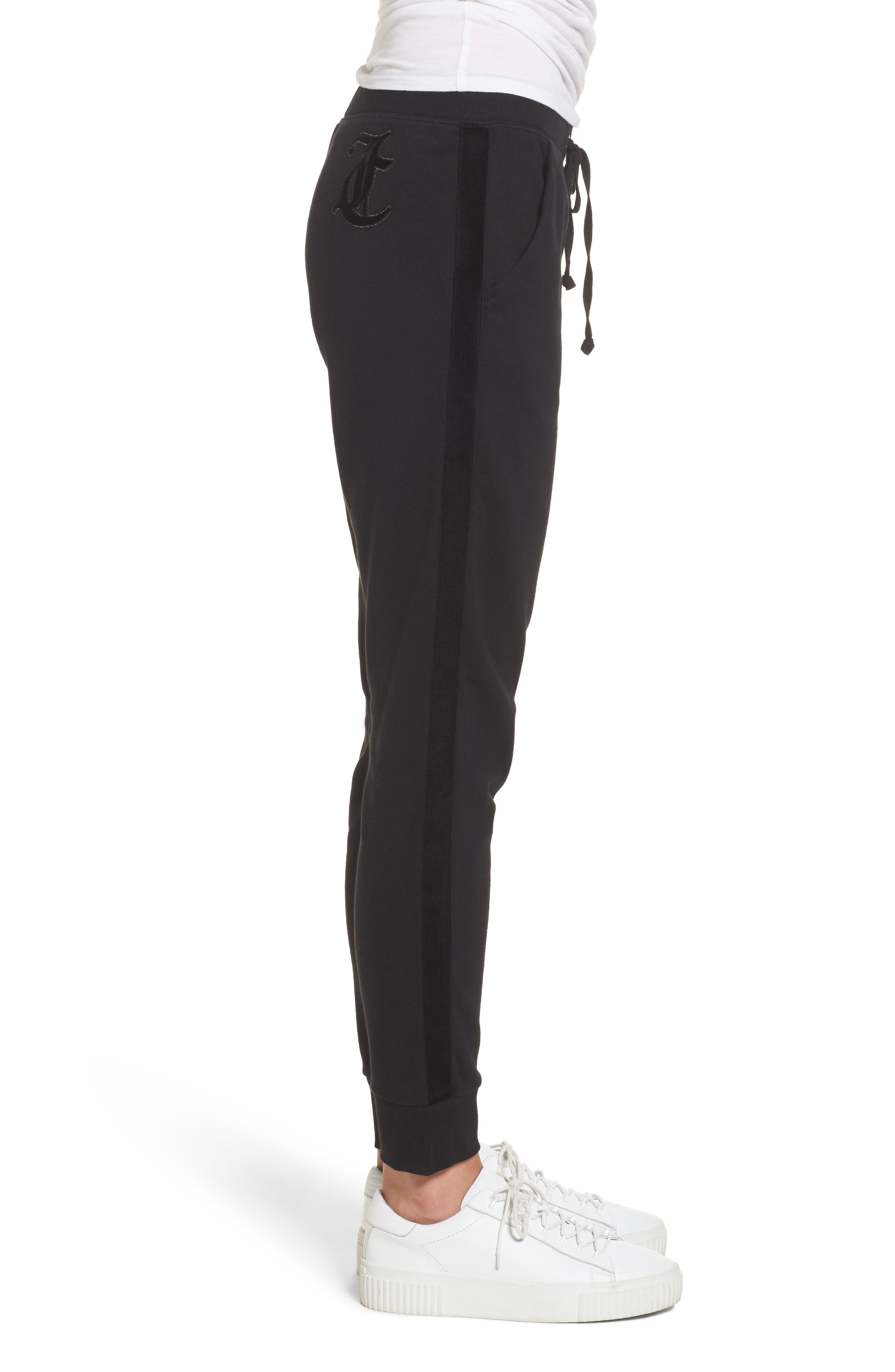 Elevate French Terry Track Pants,                             Alternate thumbnail 3, color,                             Pitch Black