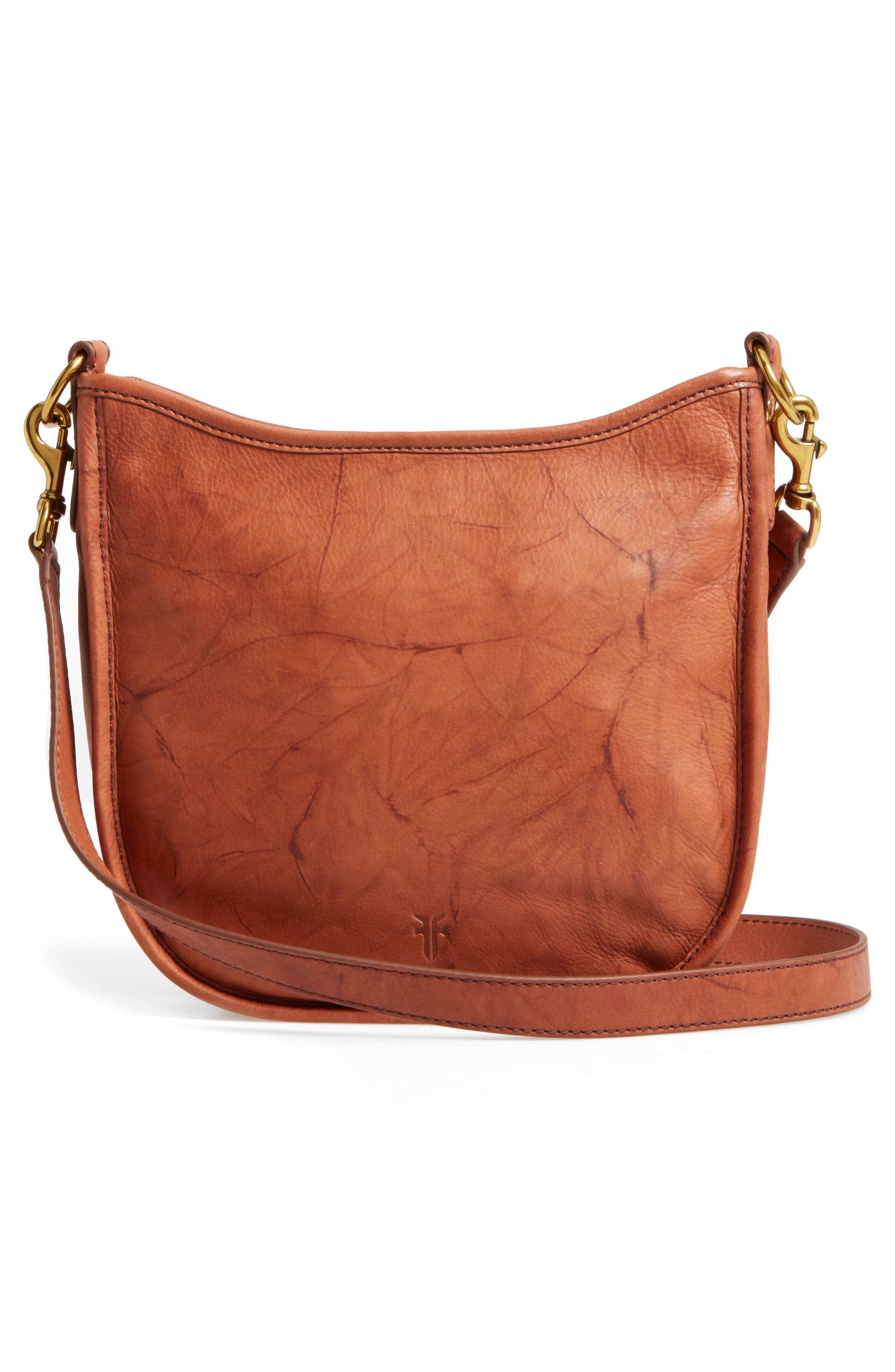 Campus Rivet Leather Crossbody Bag,                             Alternate thumbnail 2, color,                             Saddle