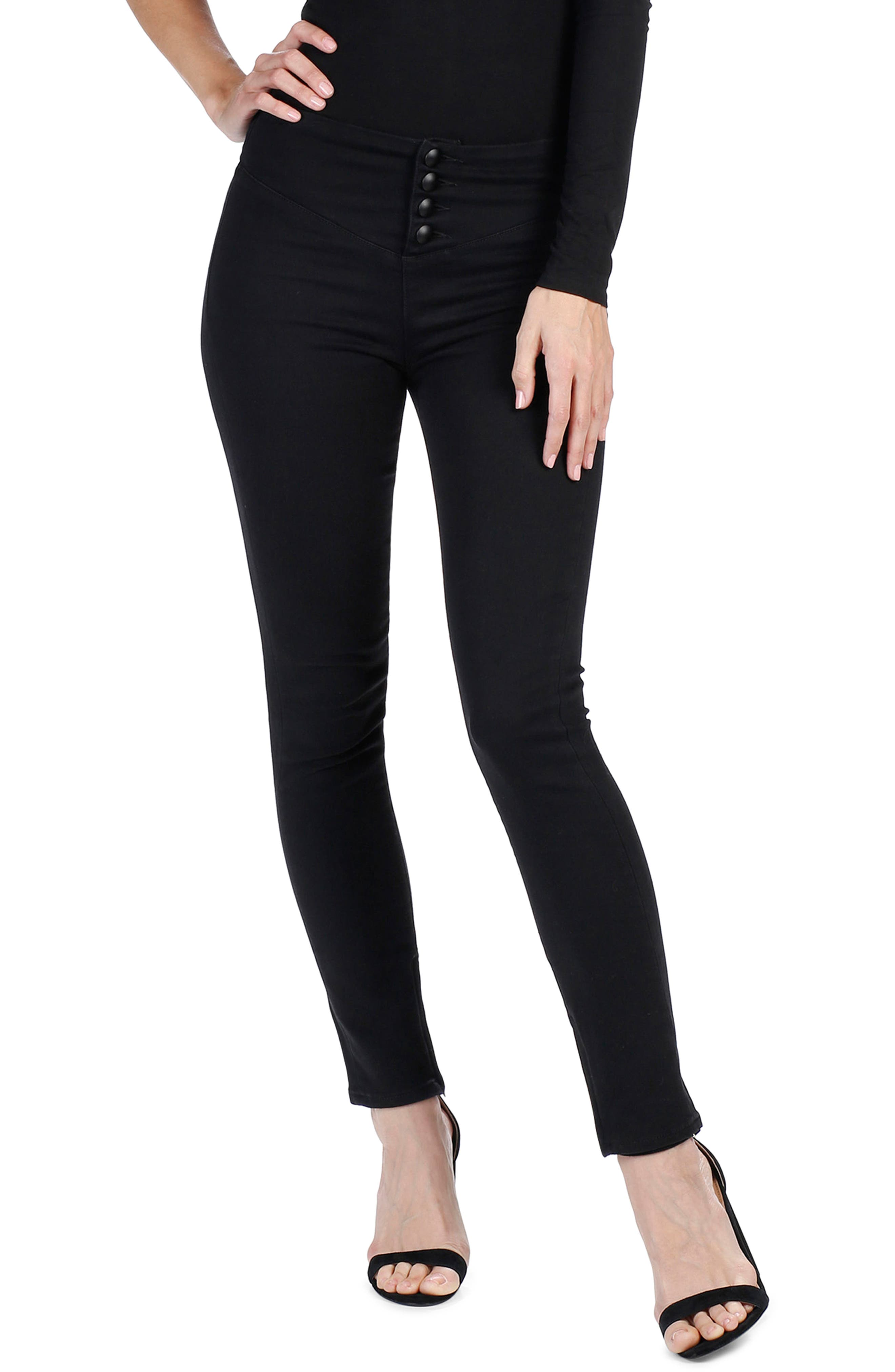 Rosie HW x PAIGE Ellery Skinny Jeans,                             Alternate thumbnail 4, color,                             Onyx