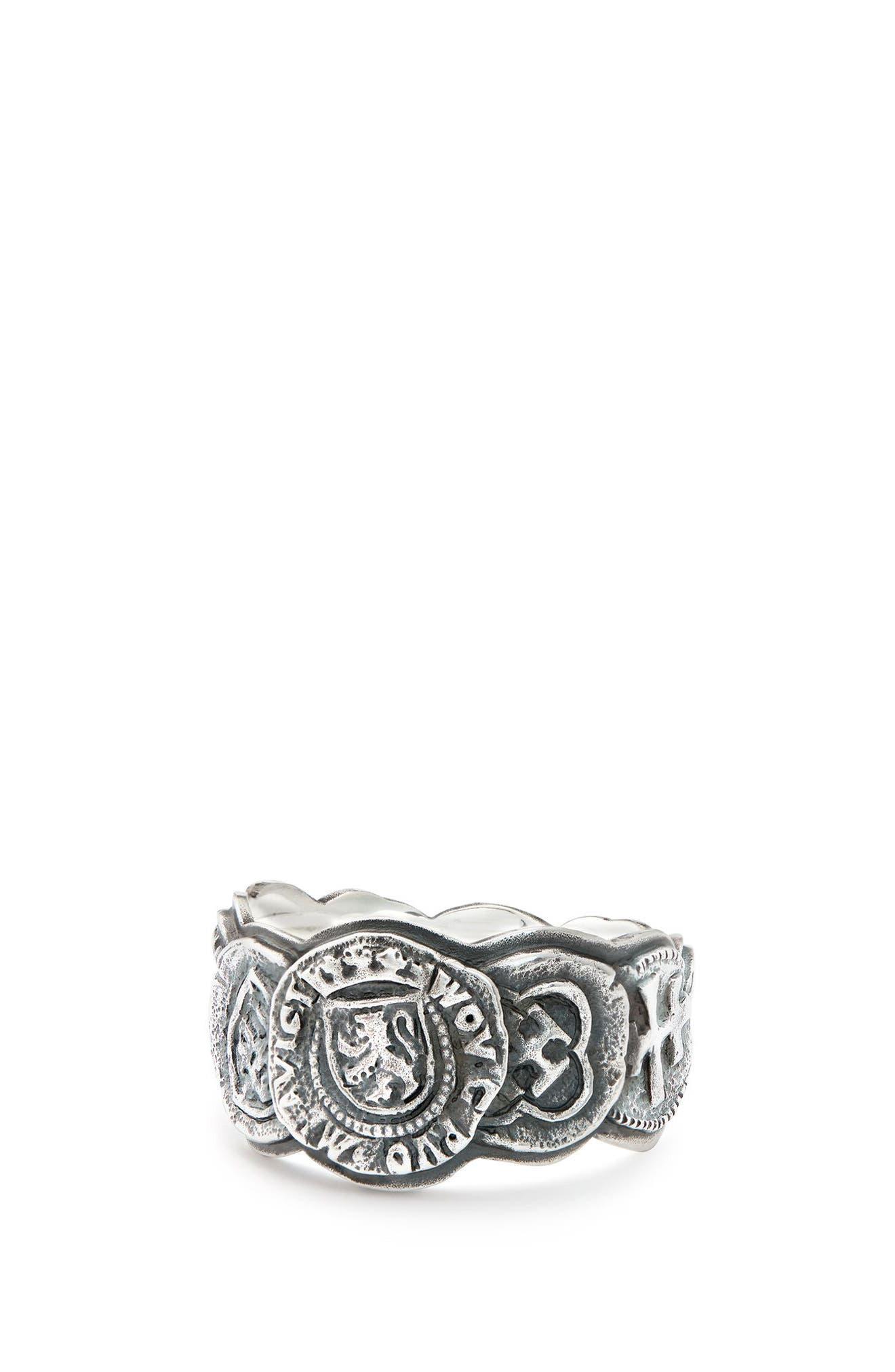 Shipwreck Coin Band Ring, 12mm,                         Main,                         color, Silver