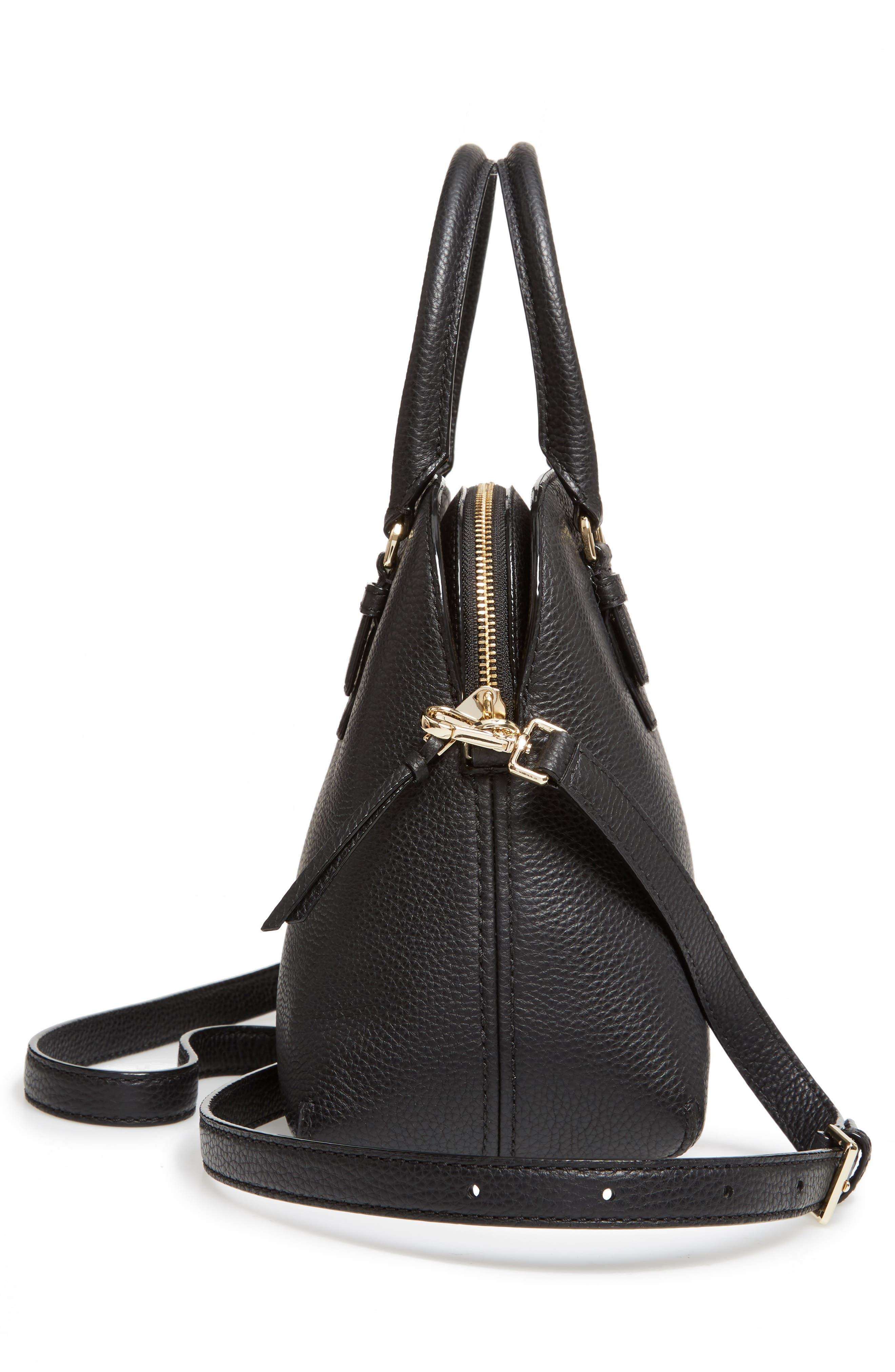 jackson street lottie leather satchel,                             Alternate thumbnail 4, color,                             Black