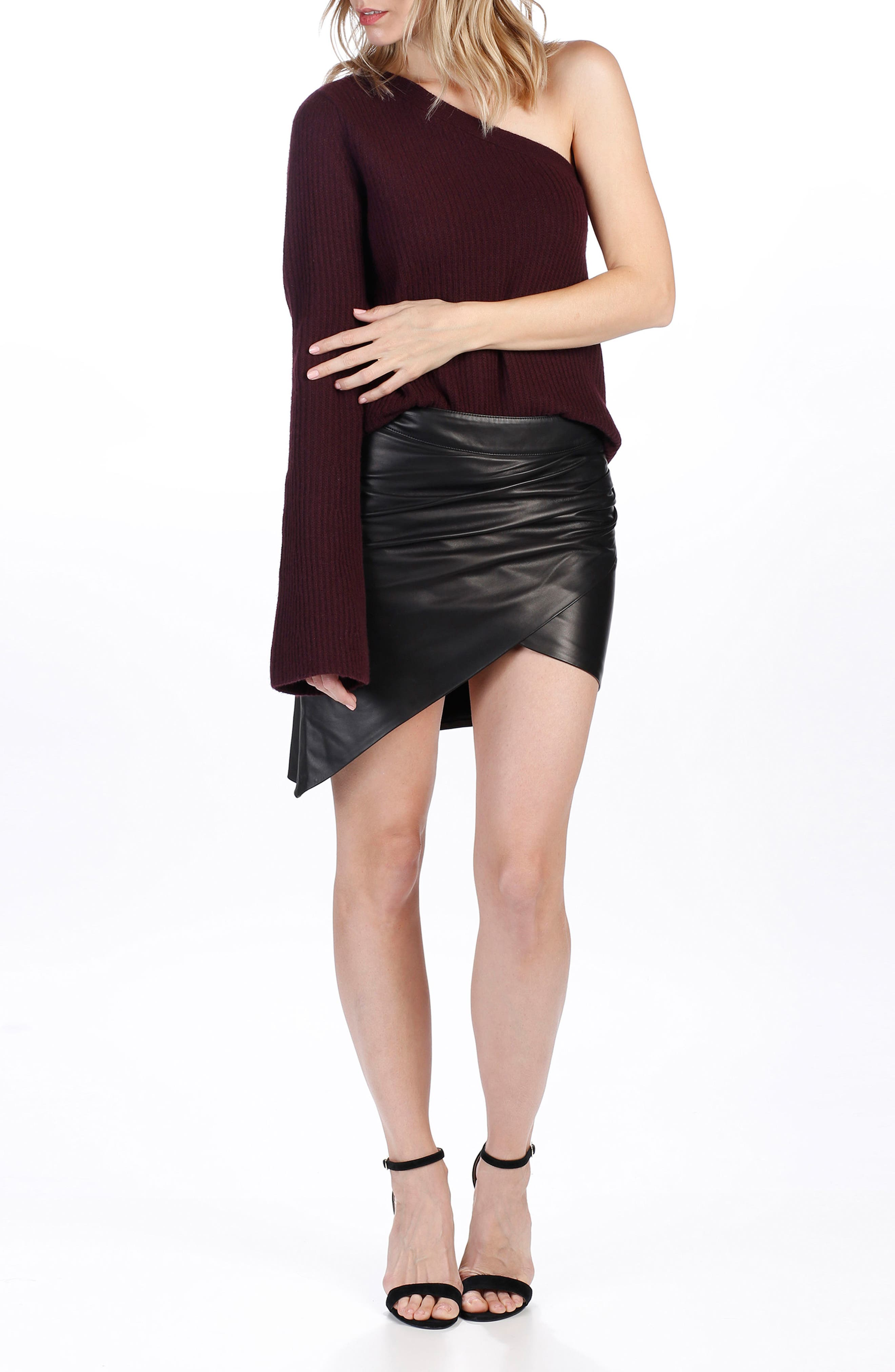 Rosie HW x PAIGE Hadlee One-Shoulder Sweater,                             Alternate thumbnail 2, color,                             Black Cherry