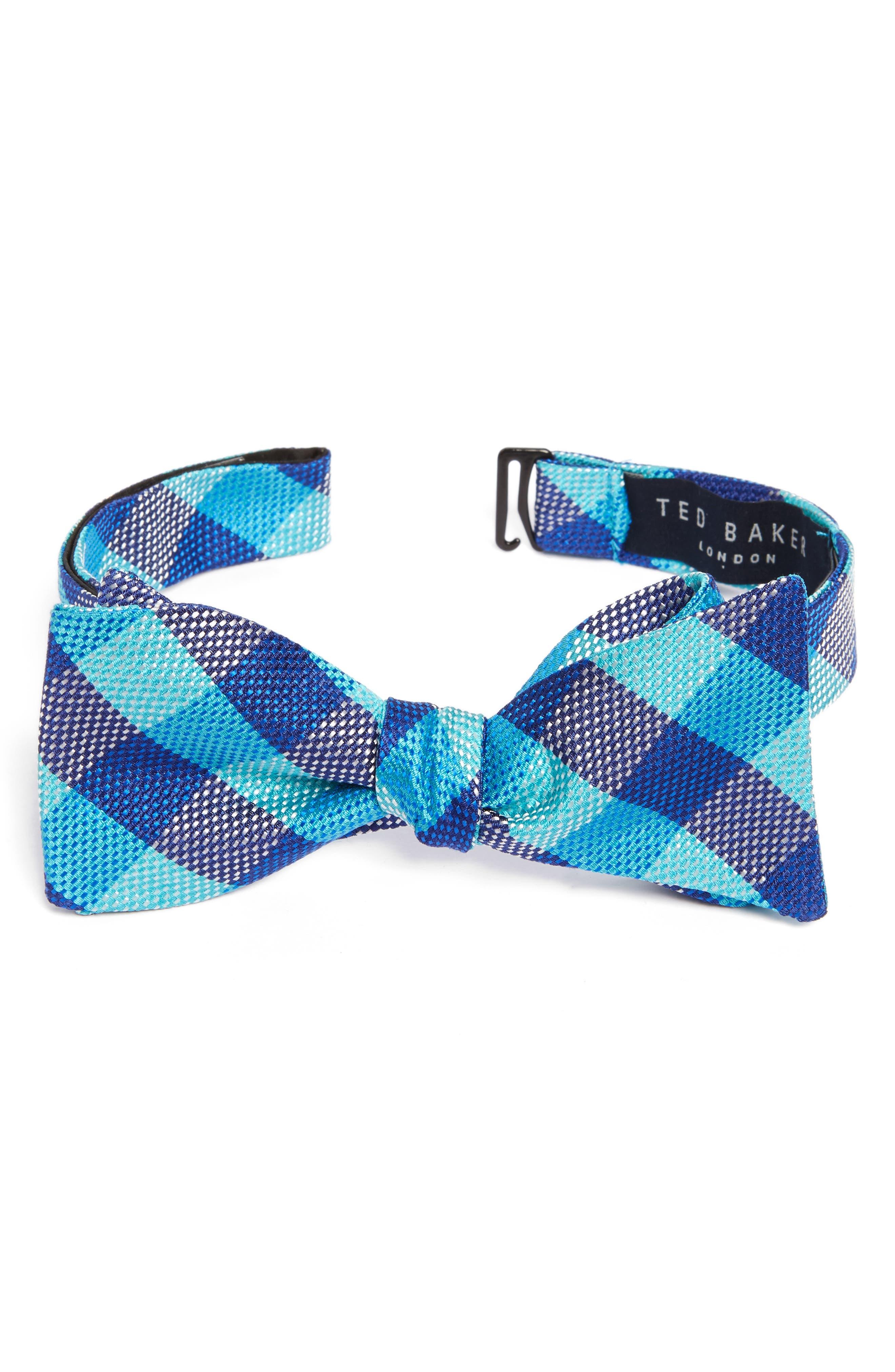 Derby Check Silk Bow Tie,                         Main,                         color, Aqua/ Teal