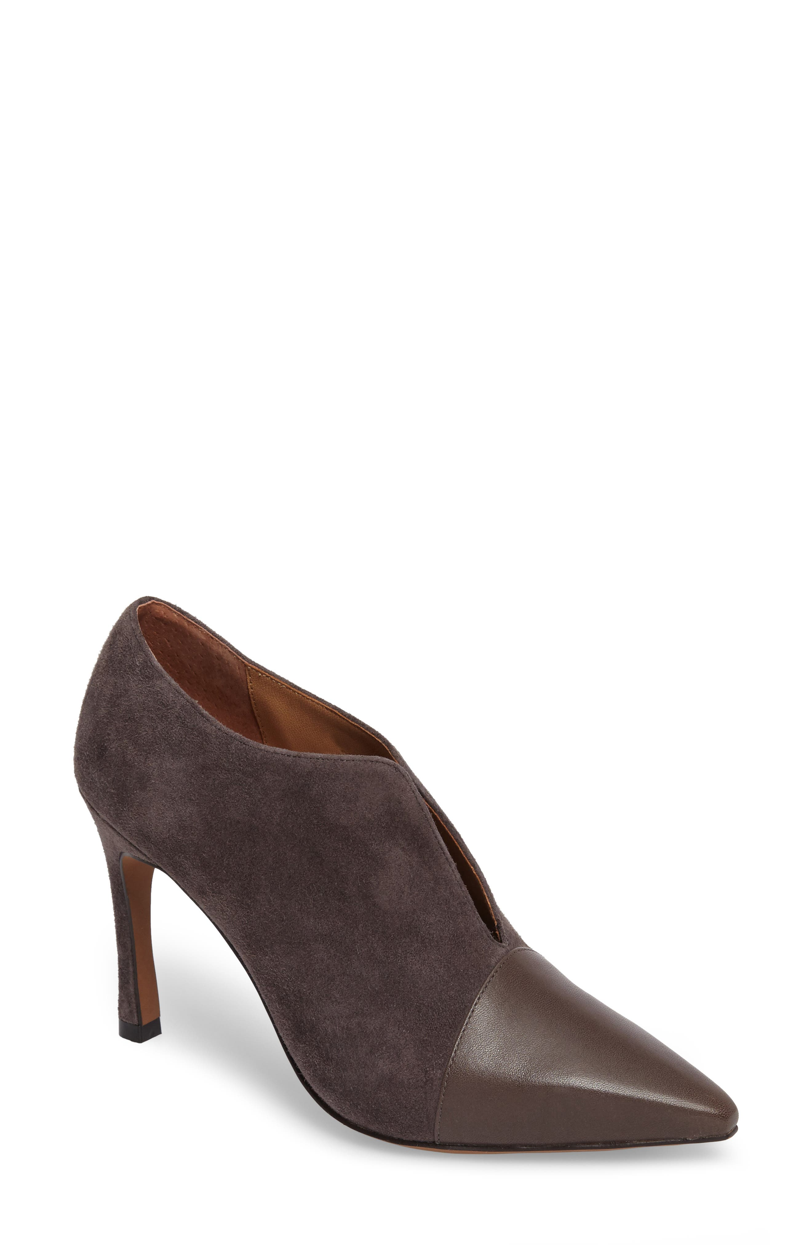 Pointy Toe Bootie,                             Main thumbnail 1, color,                             Ash Suede