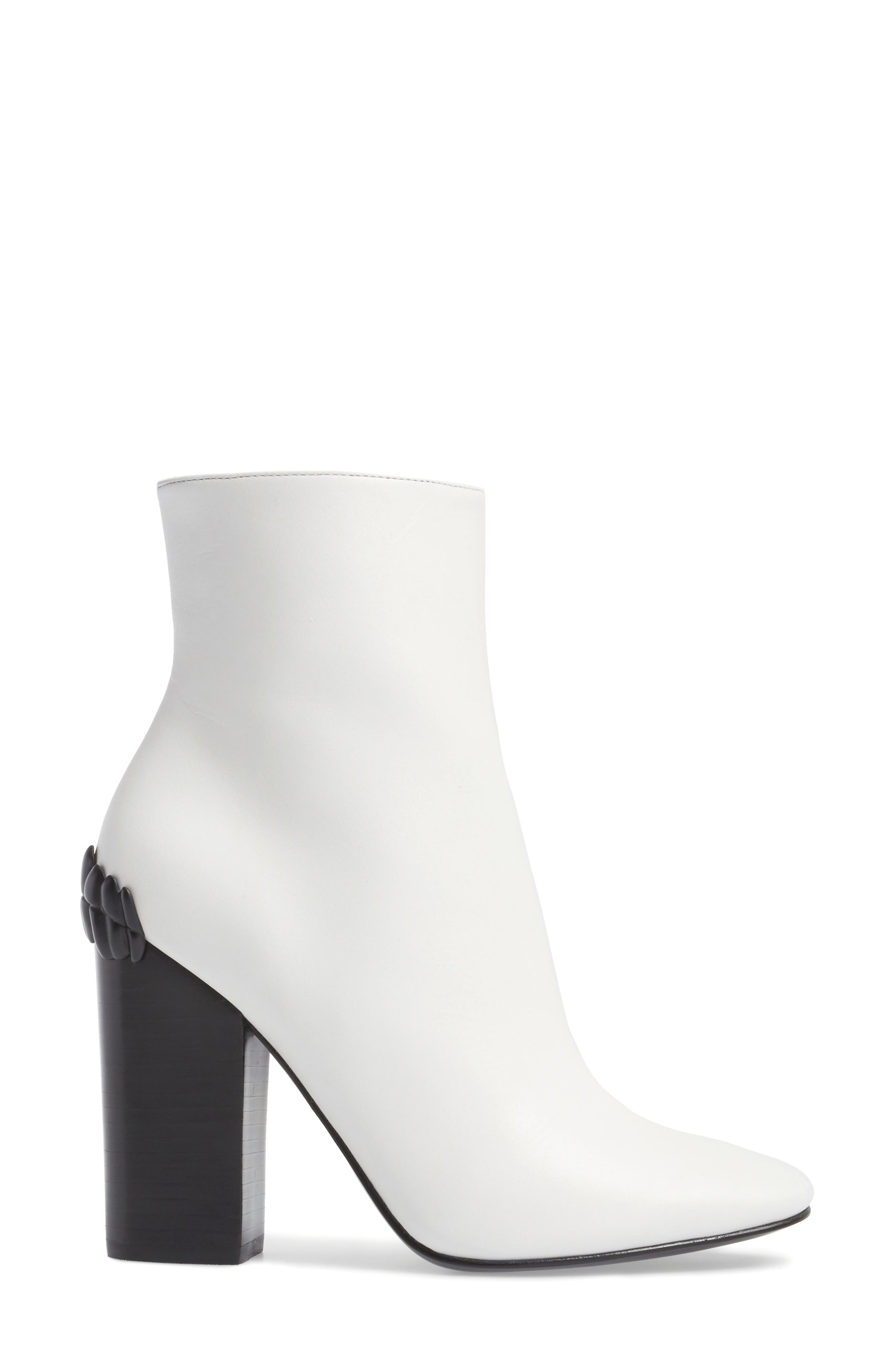 Haedyn Bootie,                             Alternate thumbnail 3, color,                             White Leather