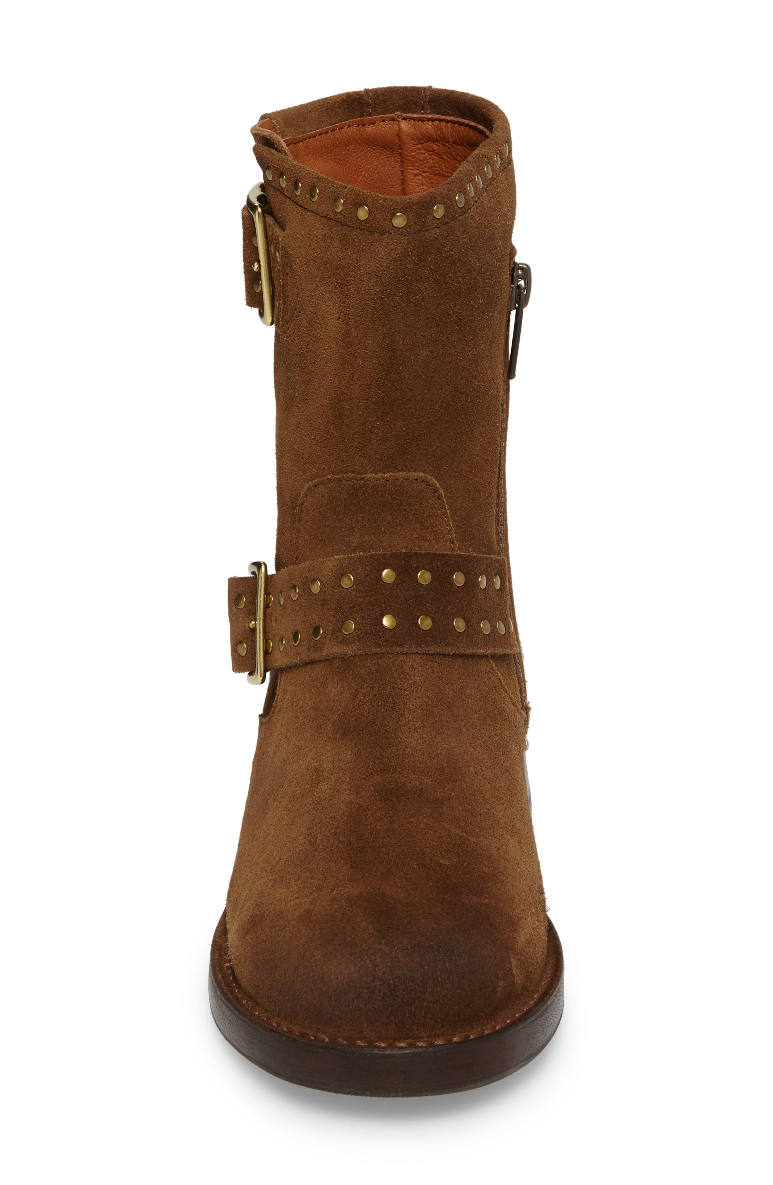 Vicky Stud Engineer Boot,                             Alternate thumbnail 4, color,                             Chestnut Suede