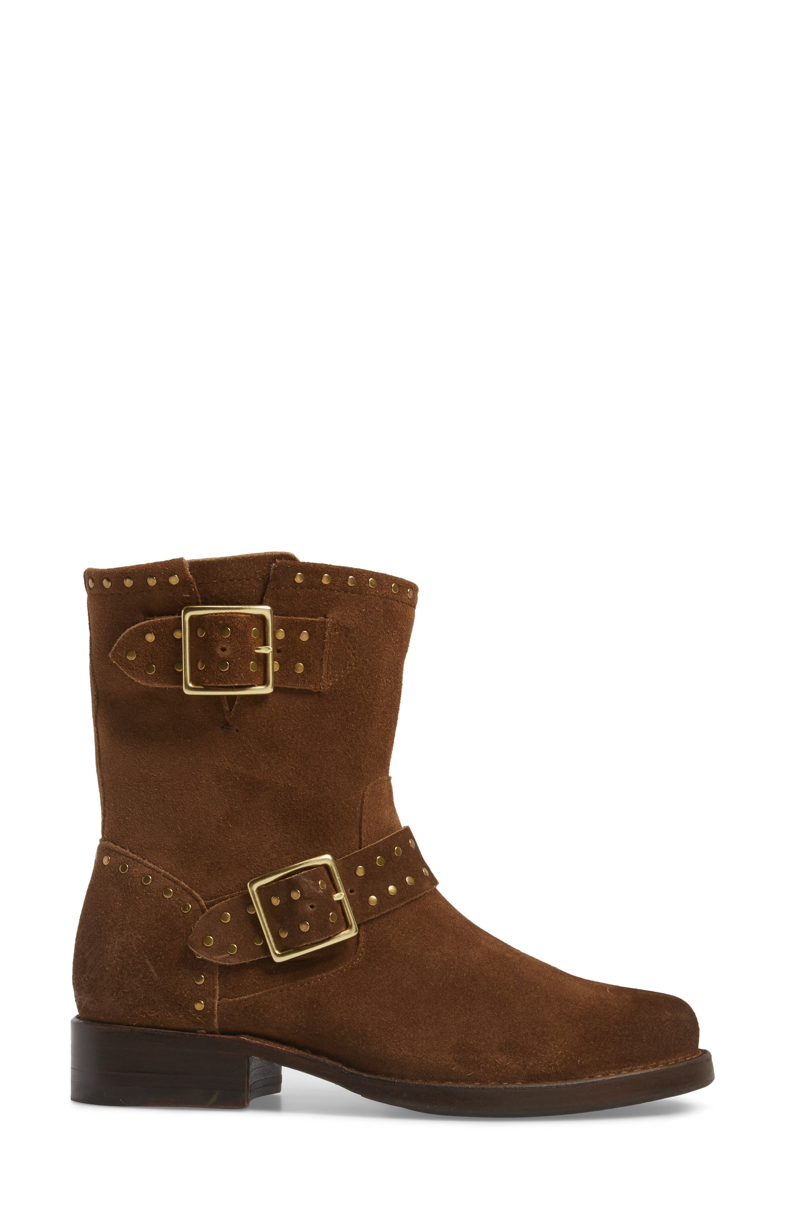 Vicky Stud Engineer Boot,                             Alternate thumbnail 3, color,                             Chestnut Suede