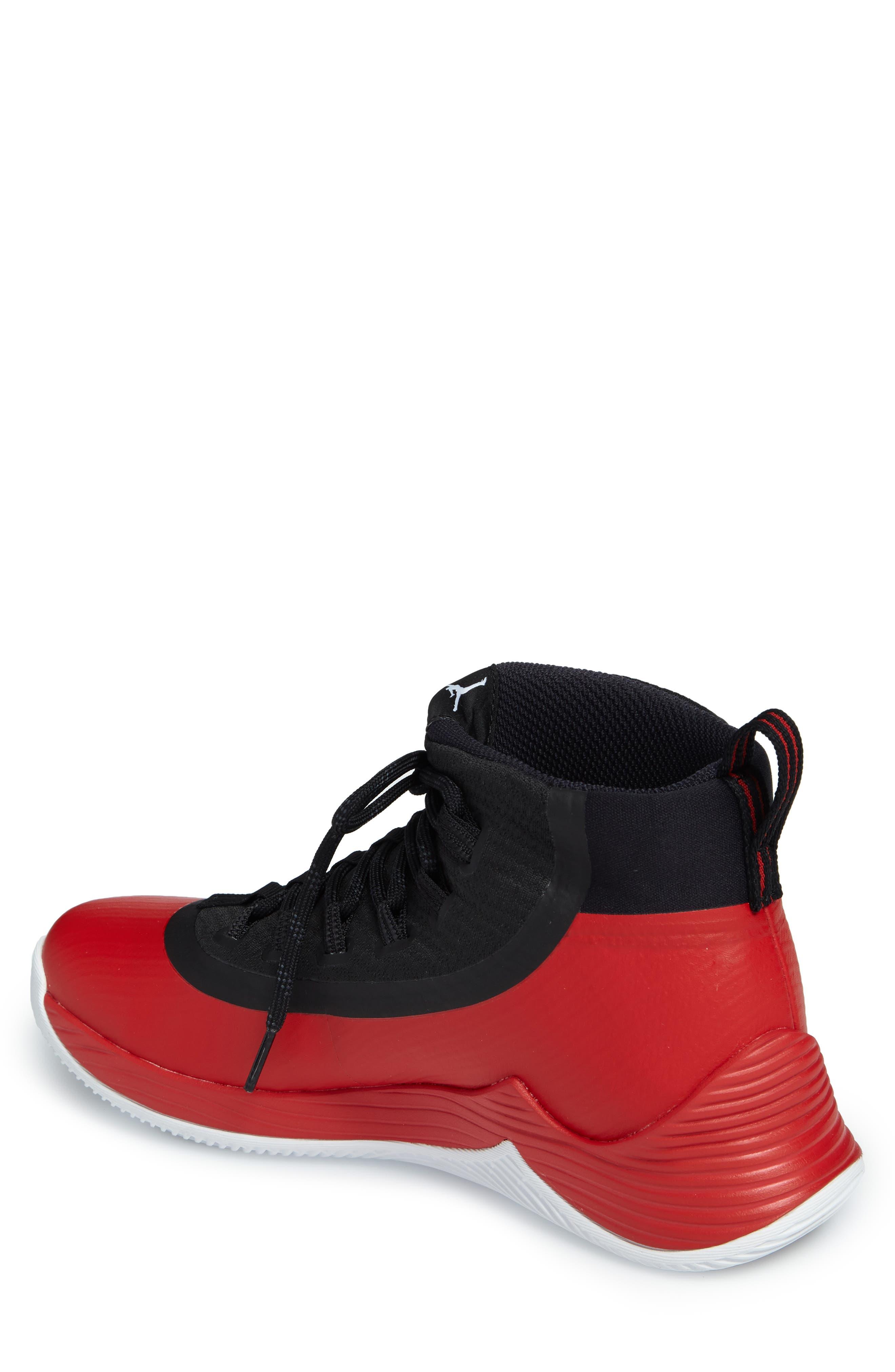 Jordan Ultra Fly 2 Basketball Shoe,                             Alternate thumbnail 2, color,                             University Red/ White/ Black
