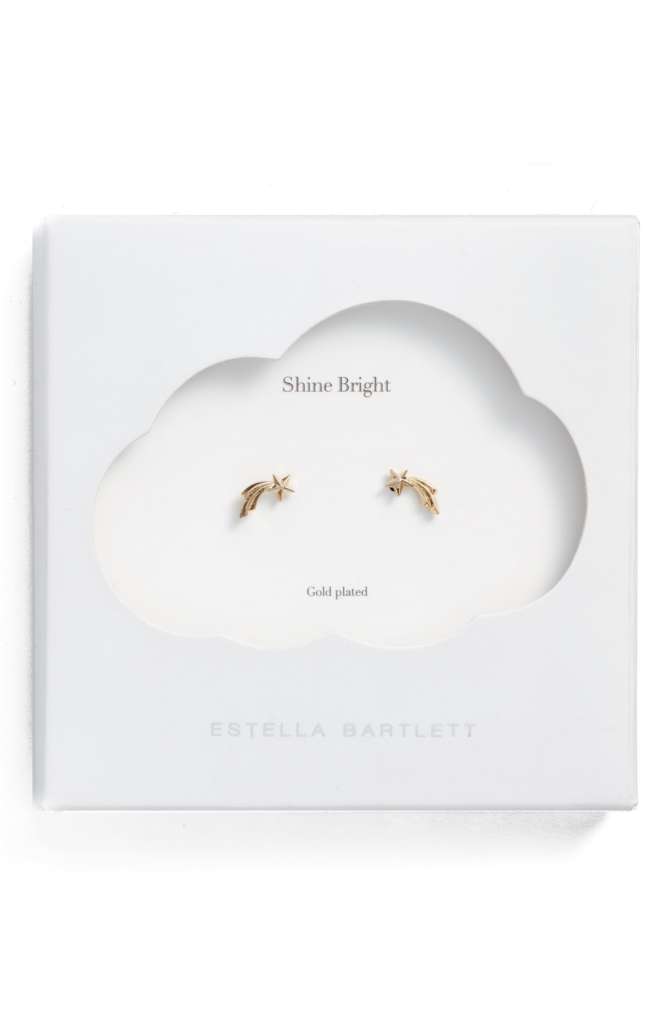 Shooting Star Stud Earrings,                         Main,                         color, Gold