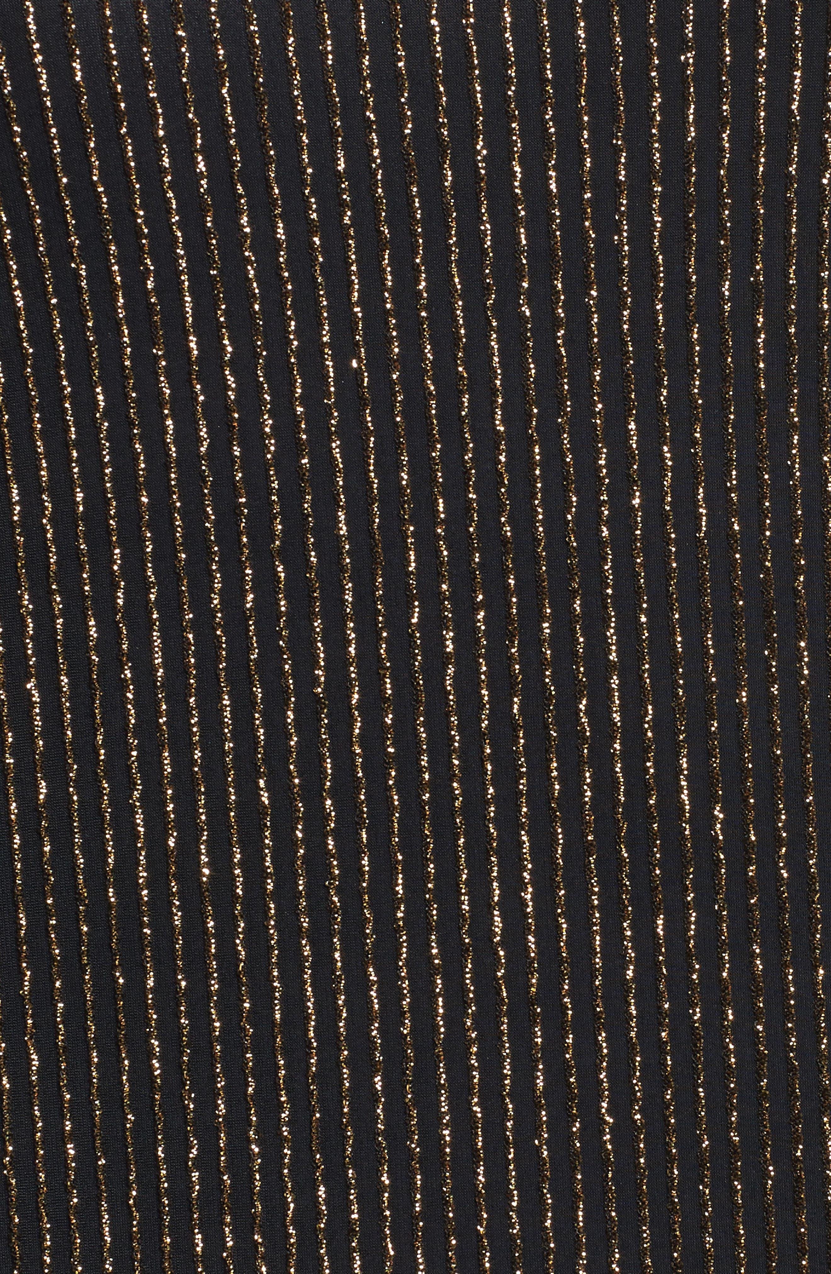 Sparkle Cold Shoulder Top,                             Alternate thumbnail 5, color,                             Black/ Gold