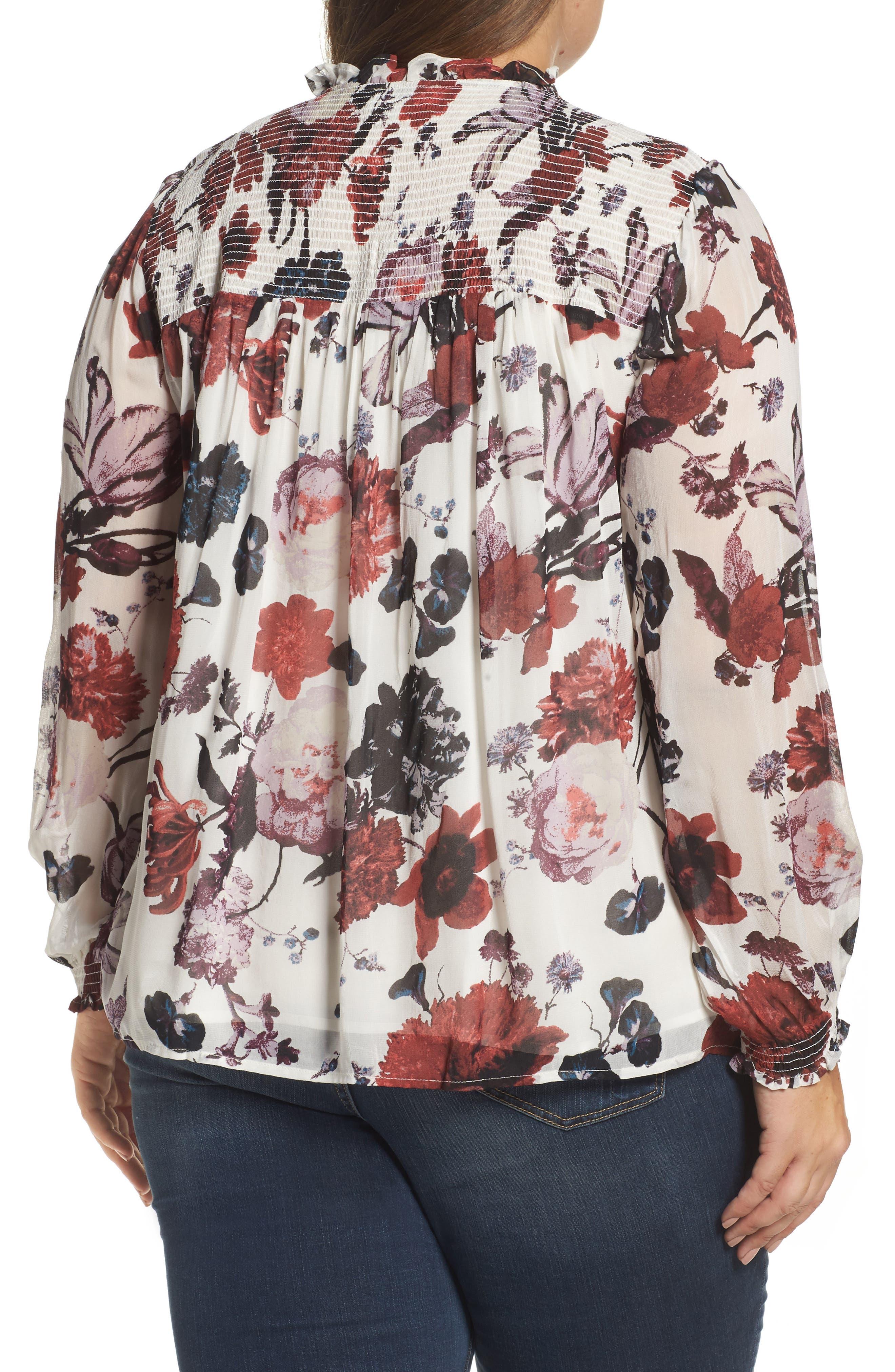 Alternate Image 2  - Lucky Brand Smock Yoke Floral Top (Plus Size)