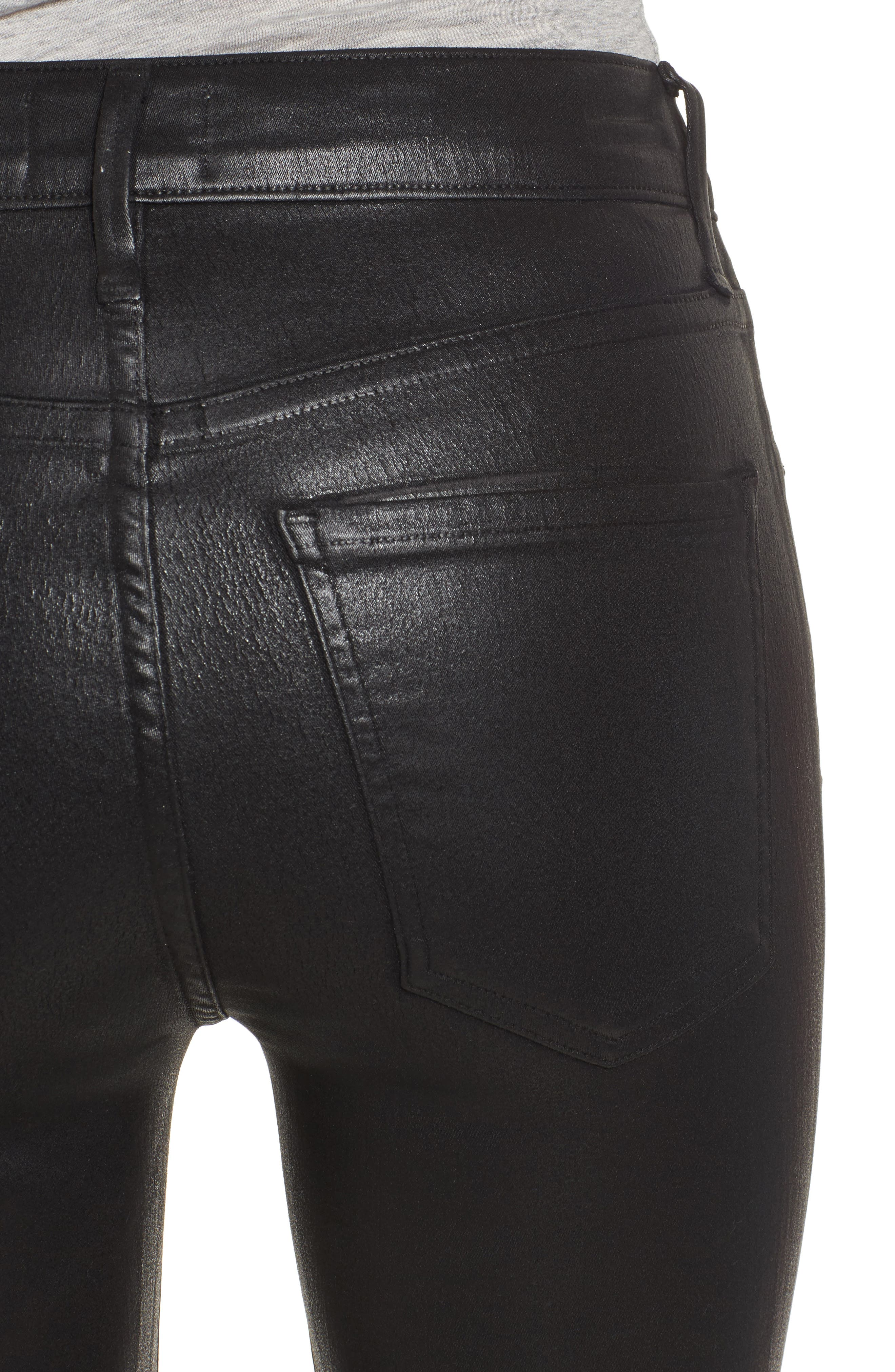 Alternate Image 4  - AGOLDE Sophie Coated High Waist Crop Skinny Jeans (Black Leatherette)