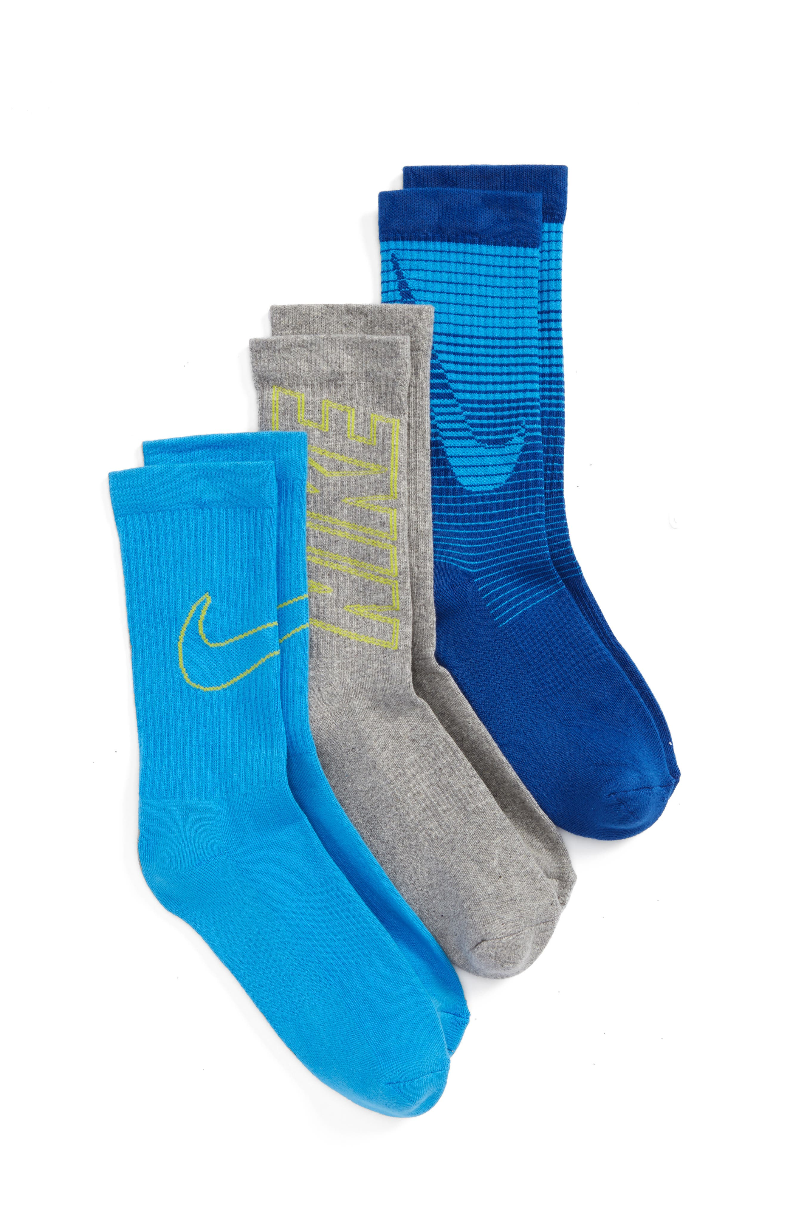 3-Pack Logo Crew Socks,                         Main,                         color, Blue
