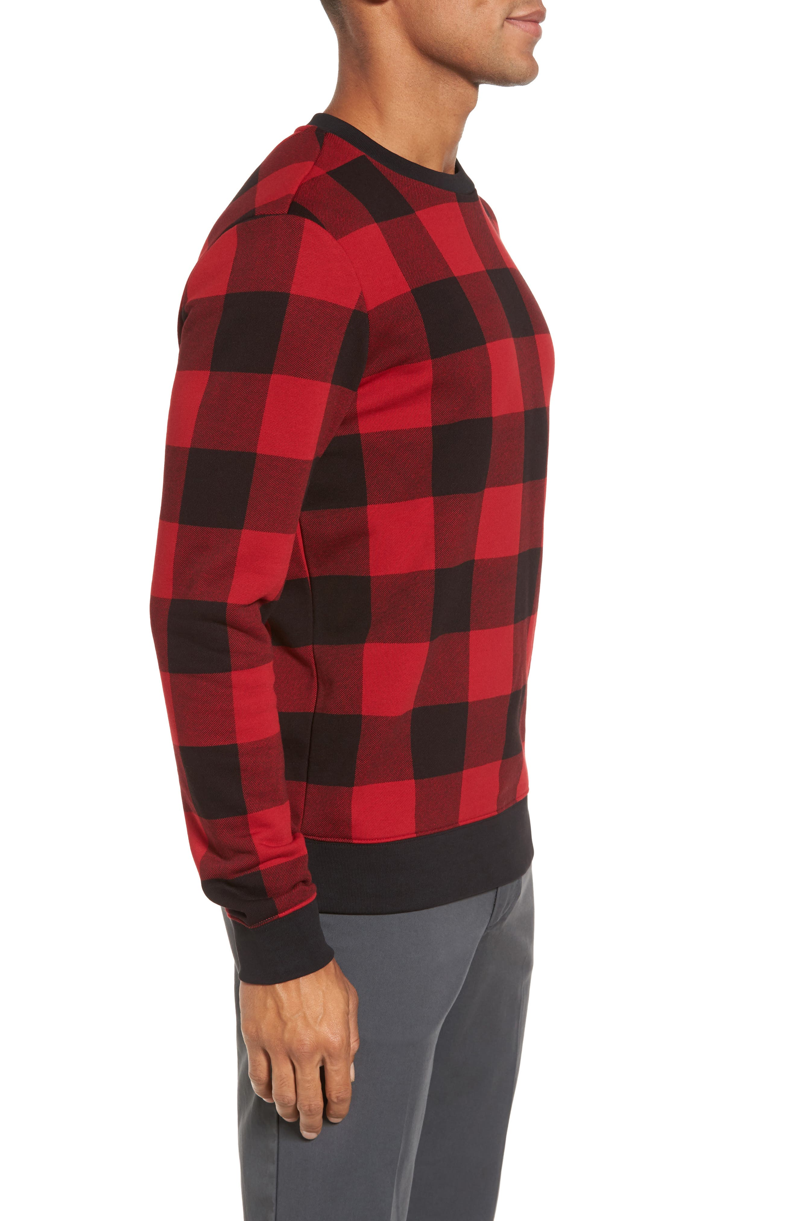 Skubic Check Slim Fit Sweater,                             Alternate thumbnail 3, color,                             Red