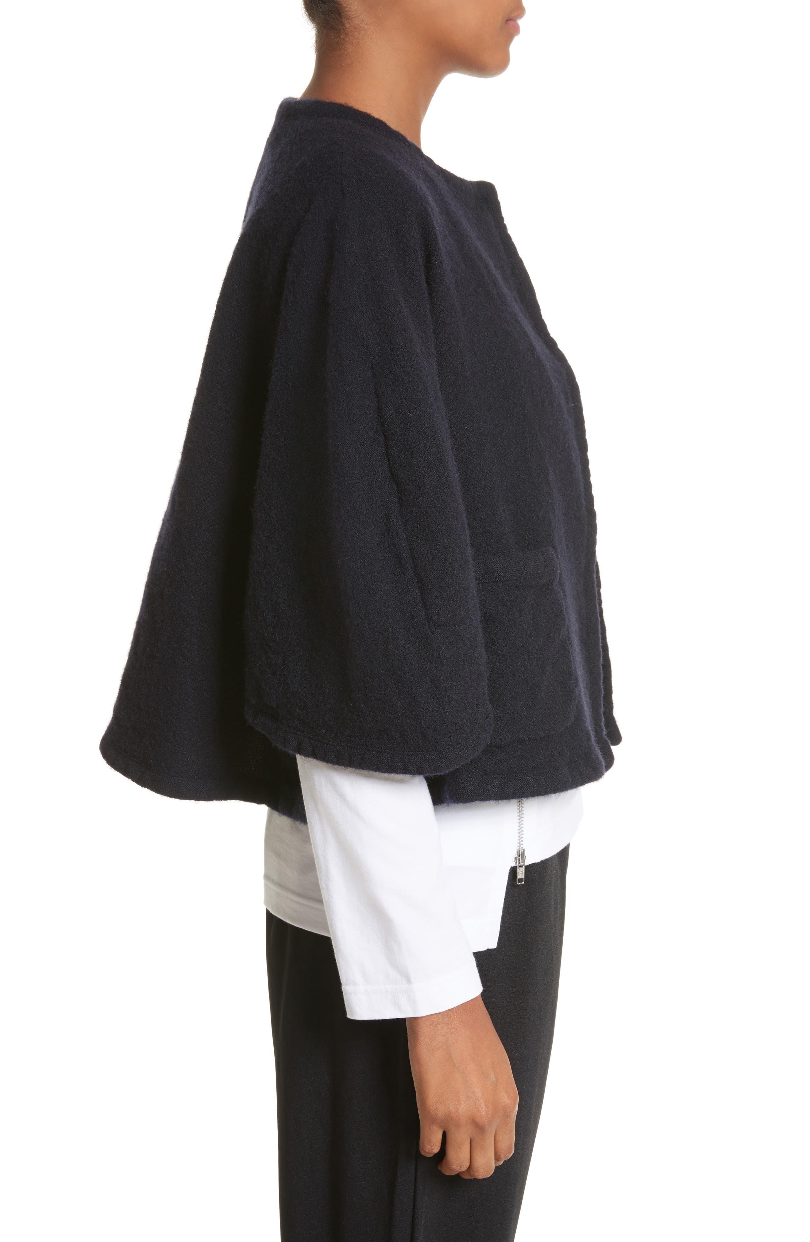 Elbow Sleeve Crop Jacket,                             Alternate thumbnail 3, color,                             Navy