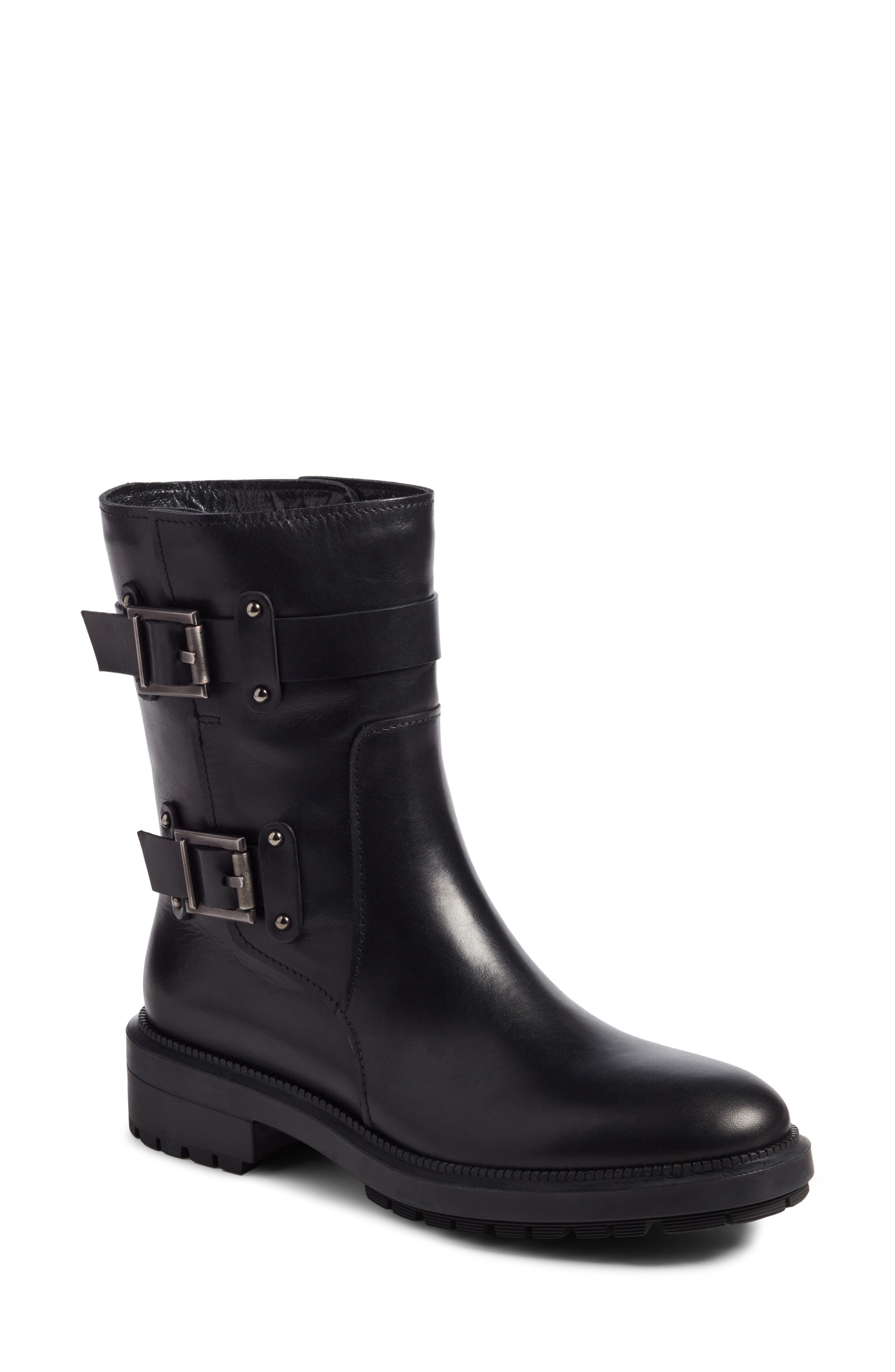 Leonie Weatherproof Leather Boot,                             Main thumbnail 1, color,                             Black Calf