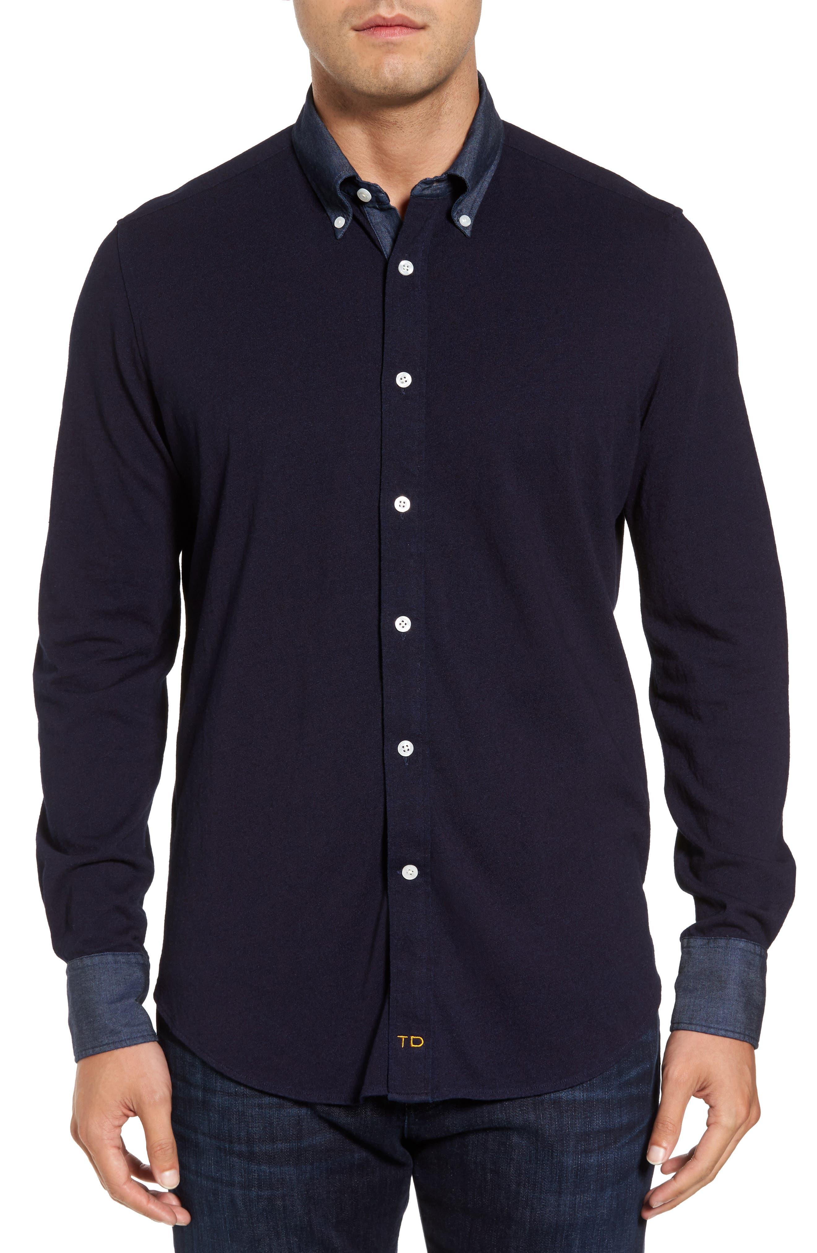 Thomas Dean Regular Fit Chambray Trim Jersey Shirt