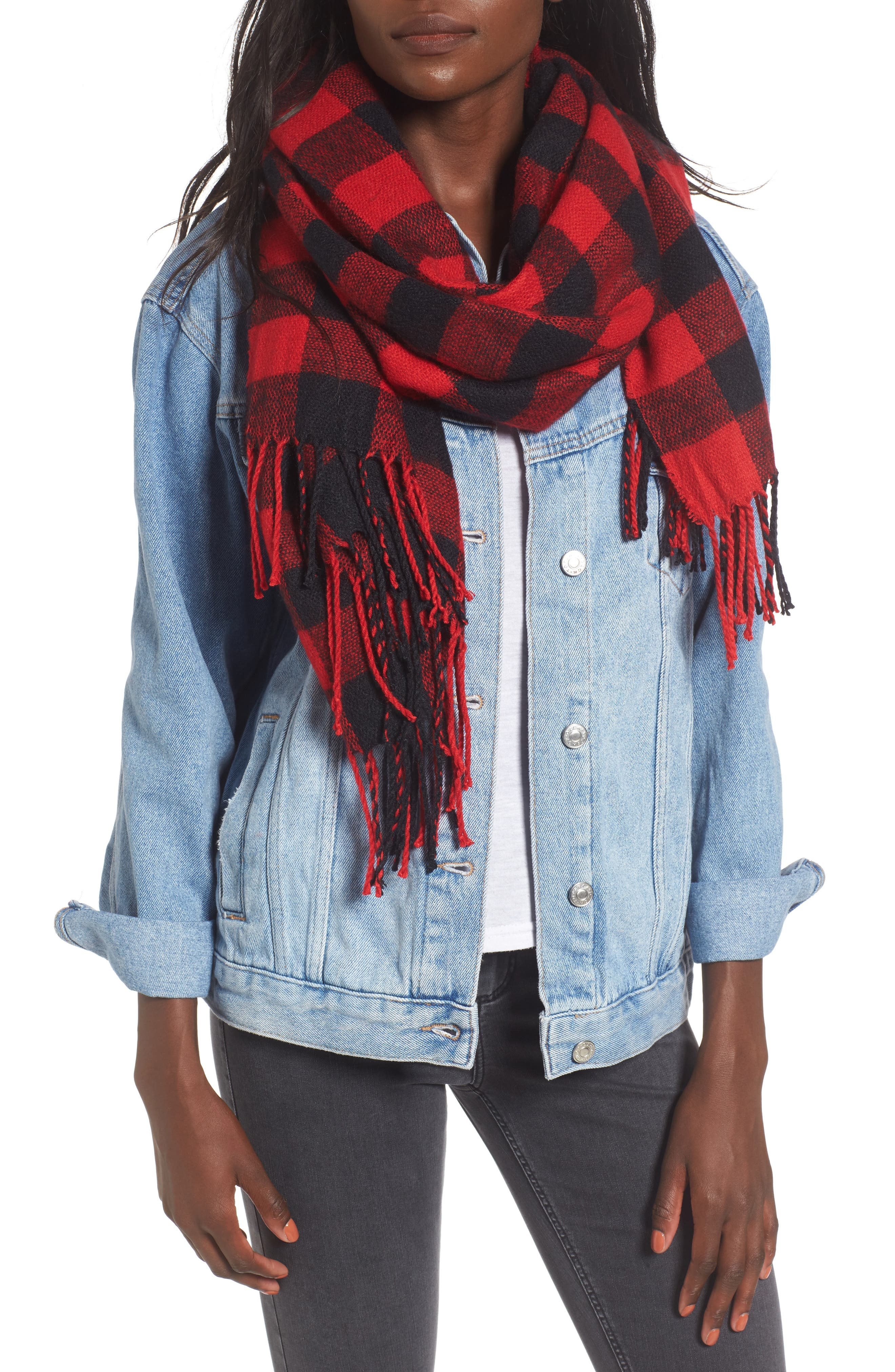 Buffalo Plaid Oblong Scarf,                         Main,                         color, Black/ Red