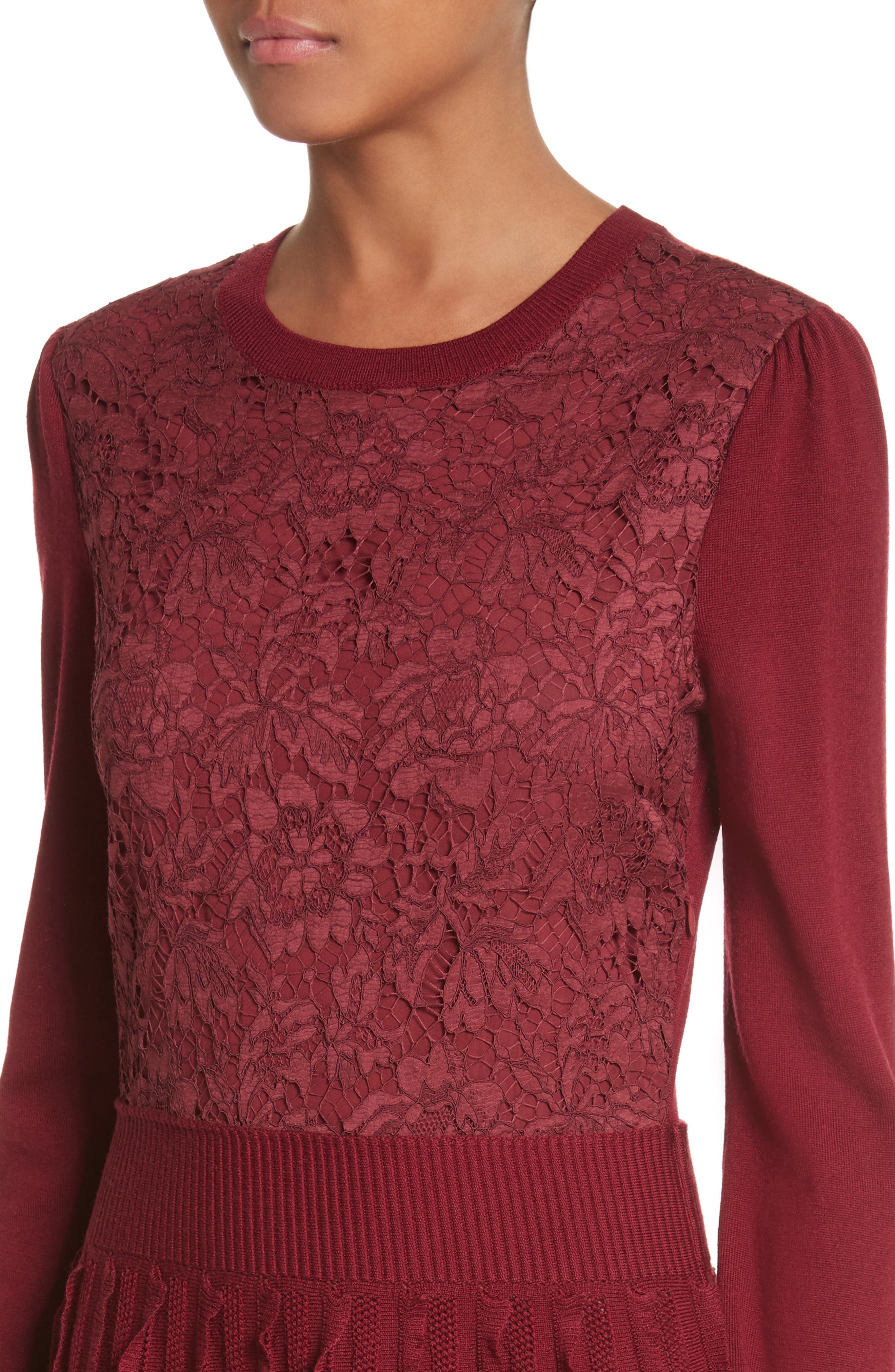 Alternate Image 4  - Valentino Guipure Lace & Wool Knit Dress