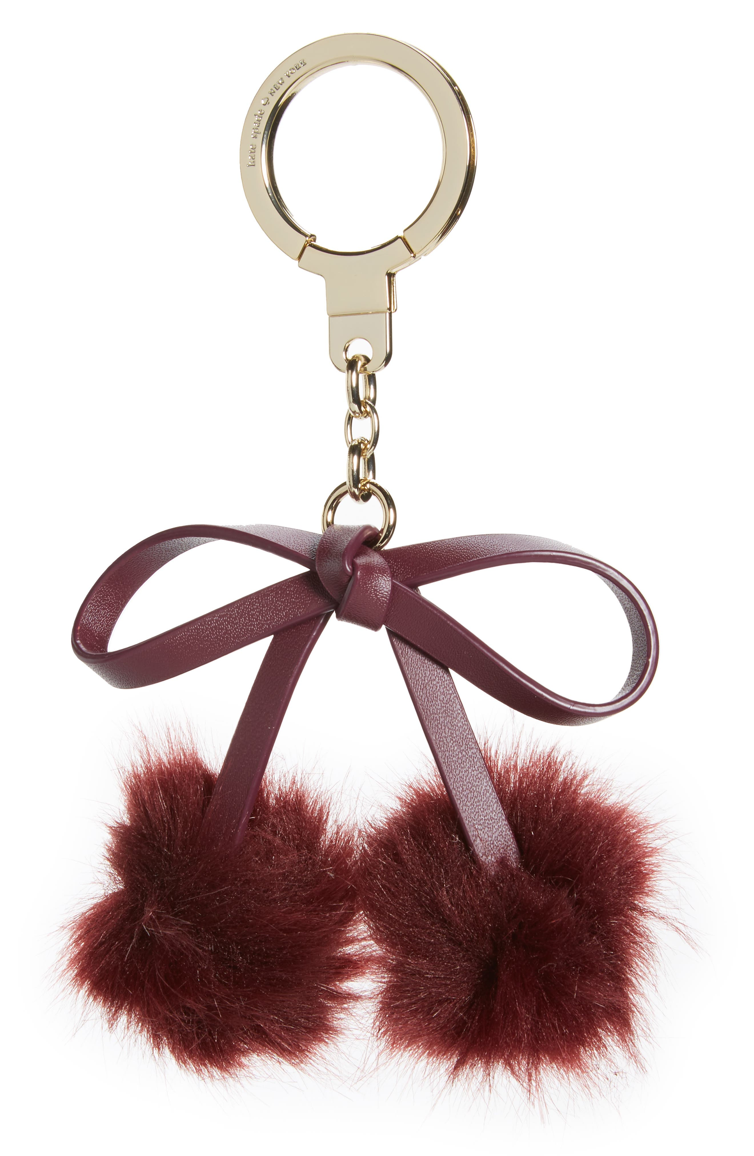 kate spade new york faux fur bow pom bag charm