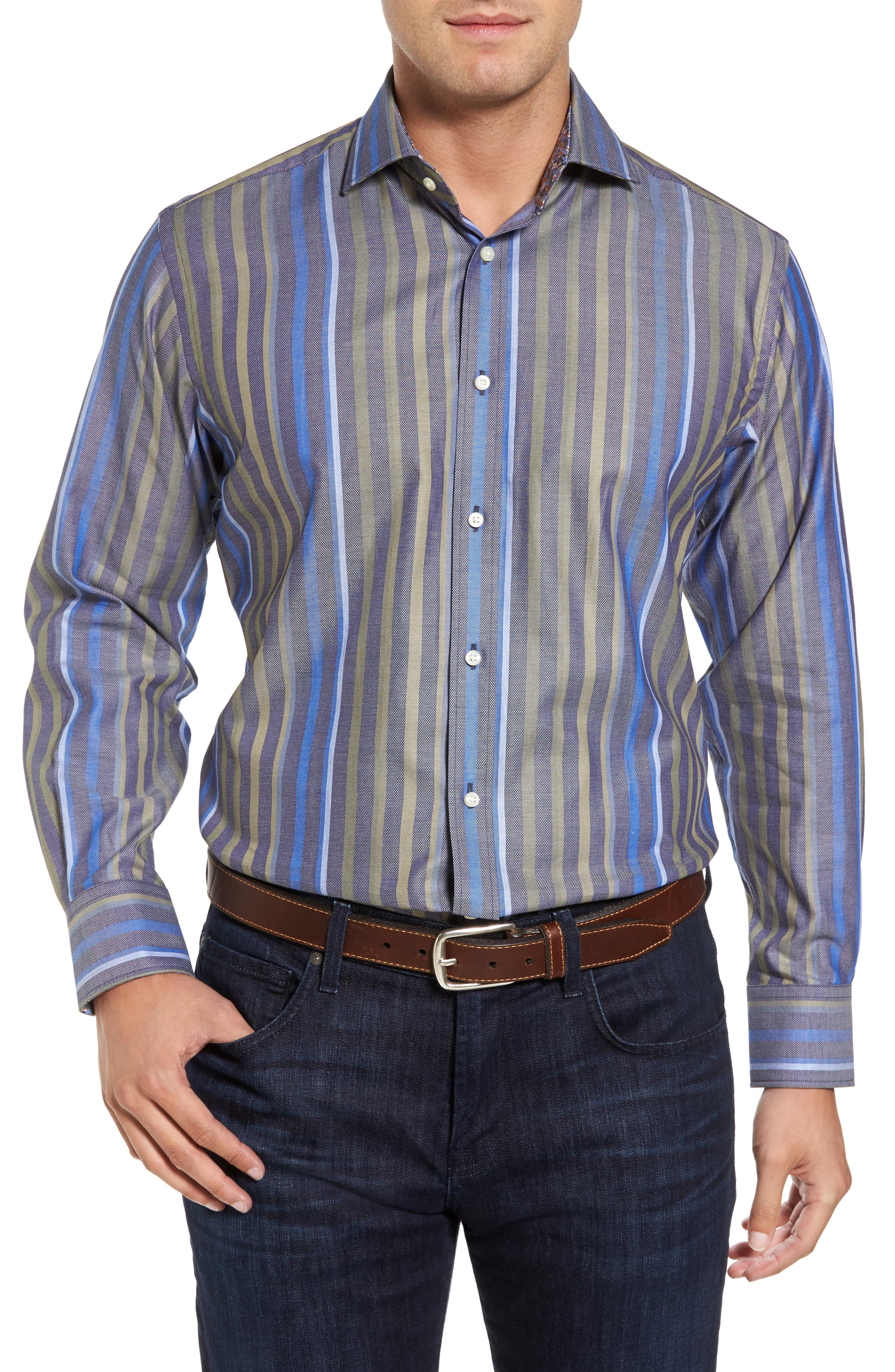 Alternate Image 1 Selected - Thomas Dean Regular Fit Stripe Sport Shirt
