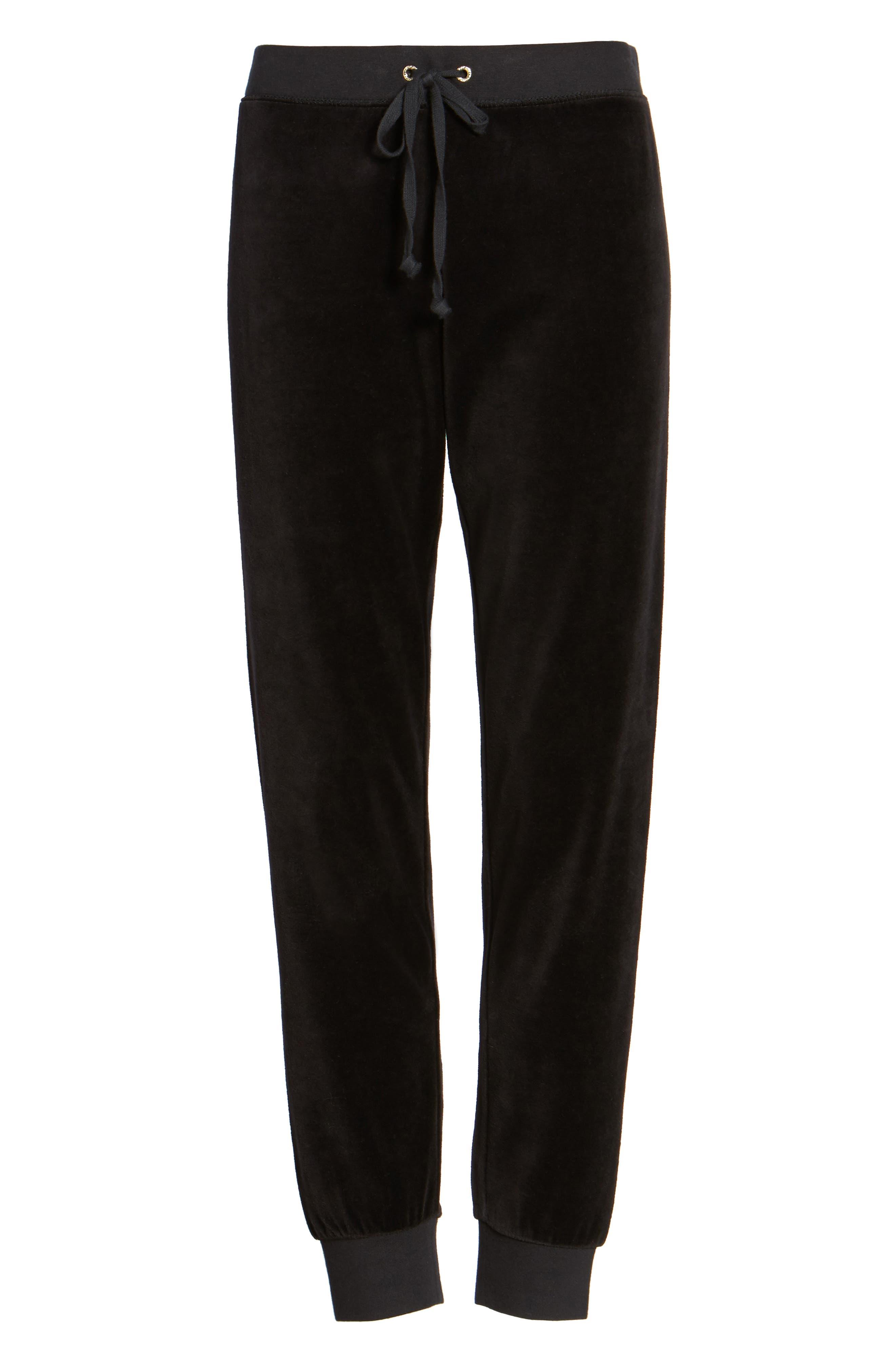 Zuma Velour Track Pants,                         Main,                         color, Pitch Black