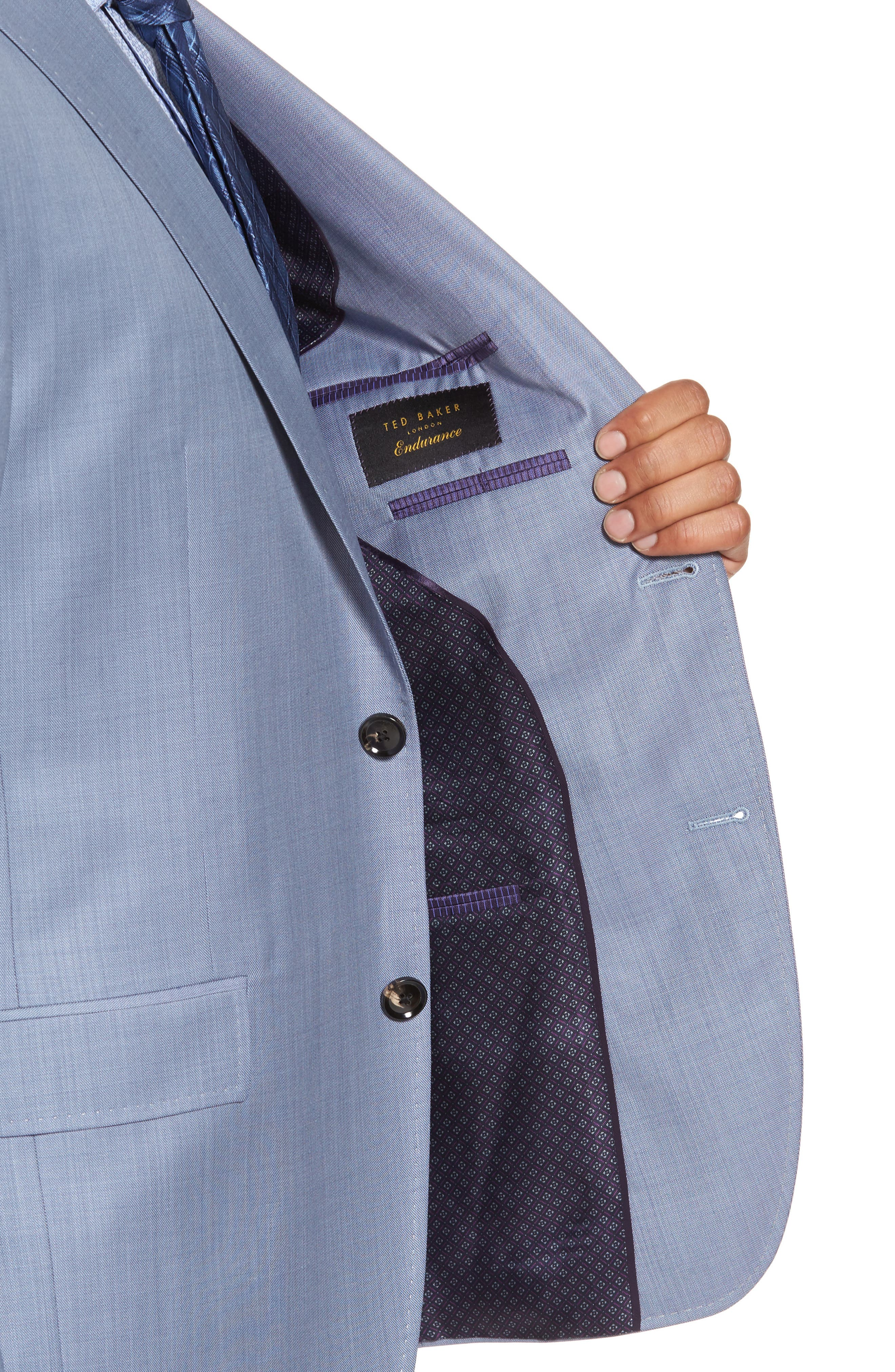 Trim Fit Solid Wool Suit,                             Alternate thumbnail 6, color,                             Light Blue