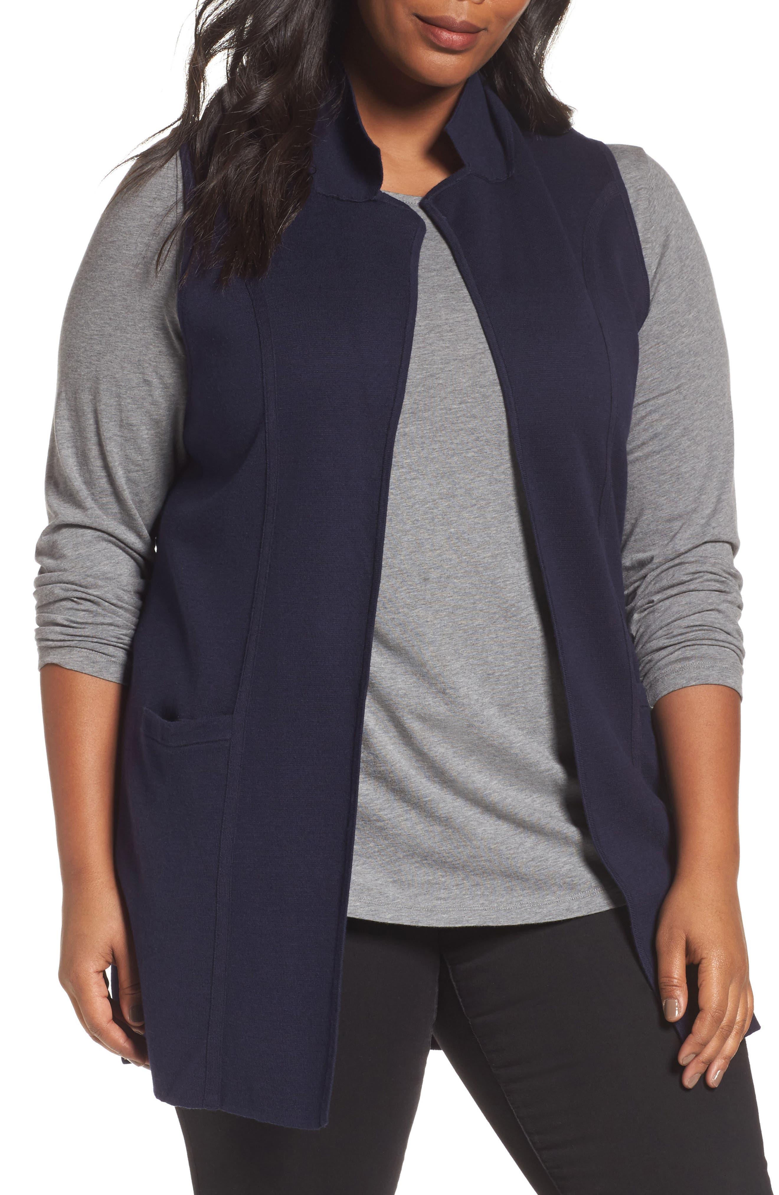 Main Image - Foxcroft Jodi Longline Sweater Vest (Plus Size)