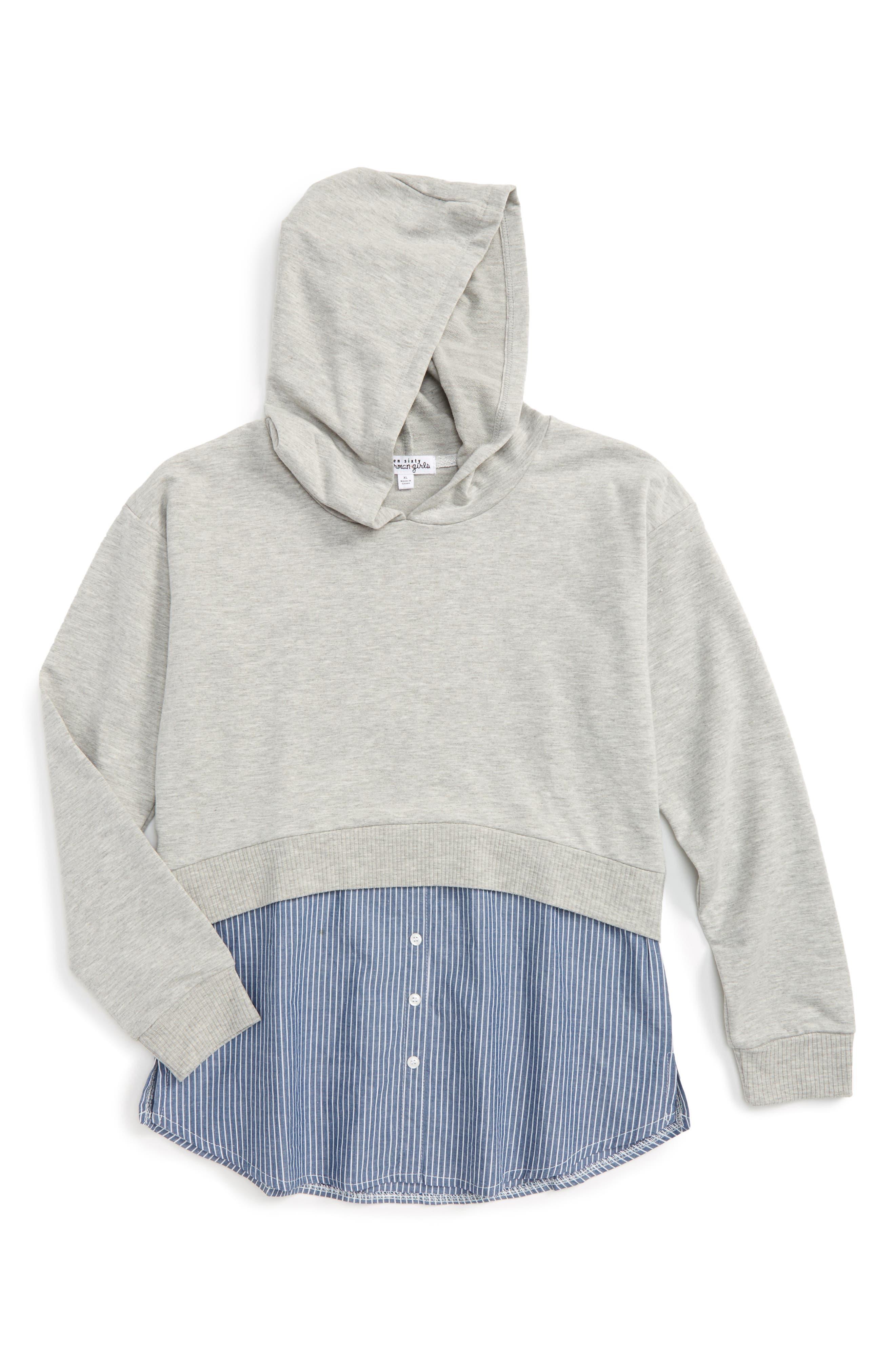 Layered Hoodie,                         Main,                         color, Heather Grey/ Ivory Stripe