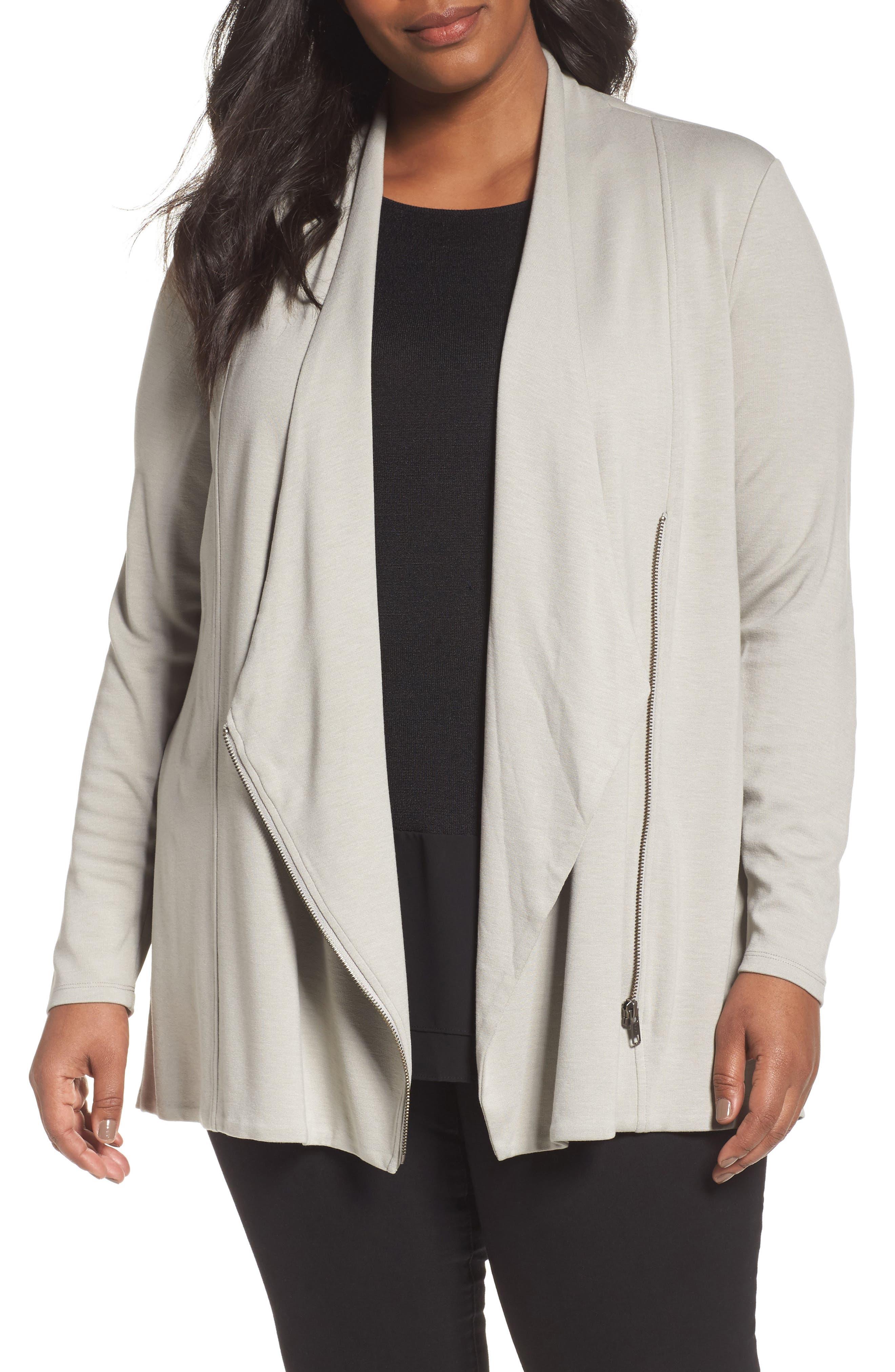 Studio Asymmetrical Zip Jacket,                         Main,                         color, Lichen
