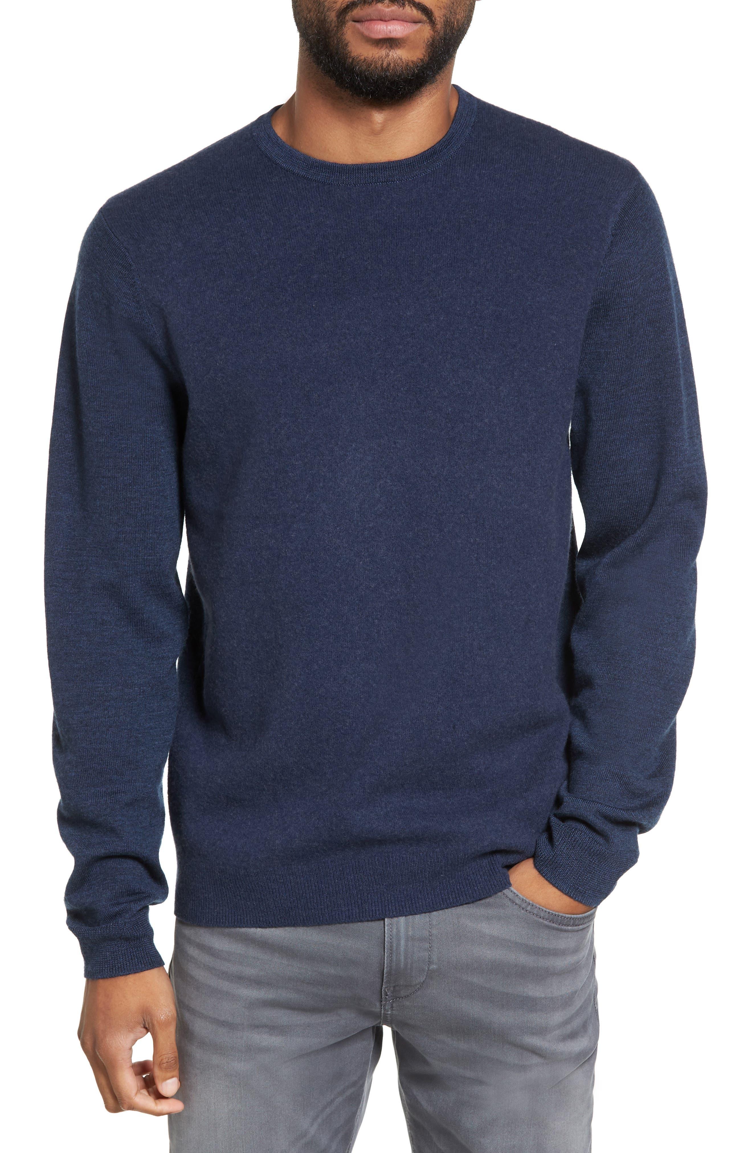 Merino Wool Blend Sweater,                             Main thumbnail 1, color,                             Navy Iris