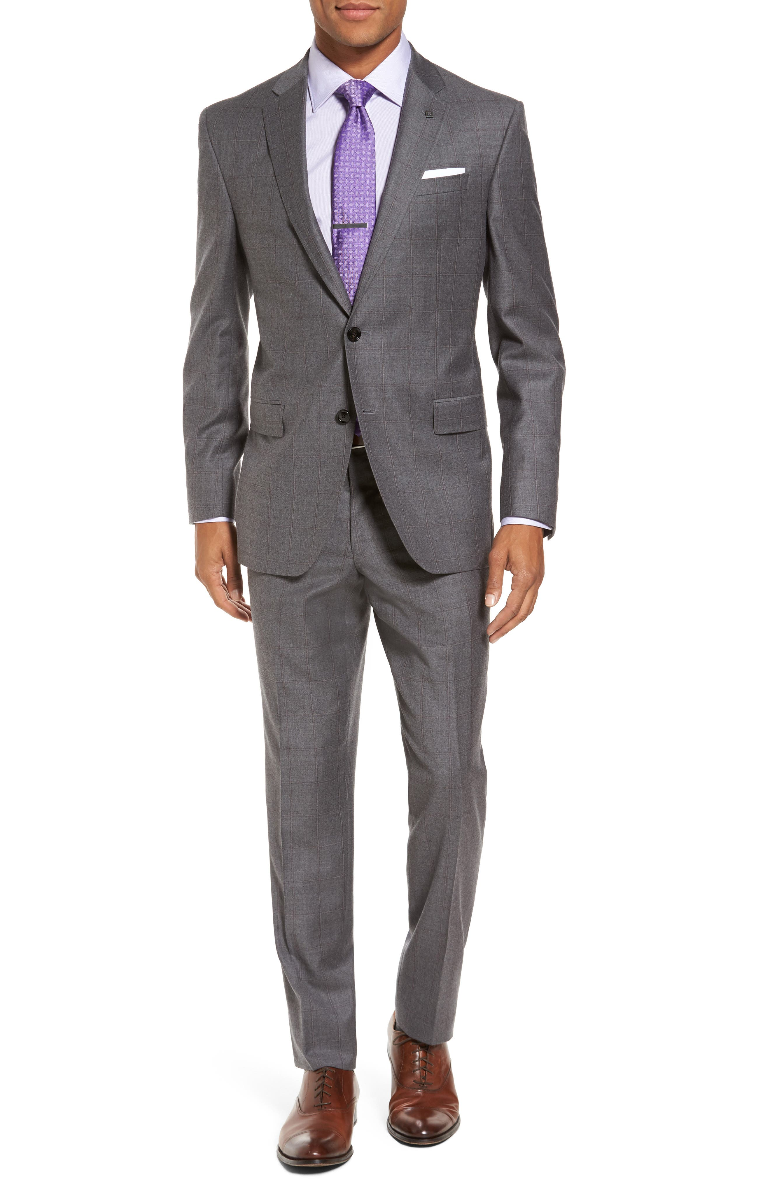 Trim Fit Windowpane Wool Suit,                             Main thumbnail 1, color,                             Light Grey