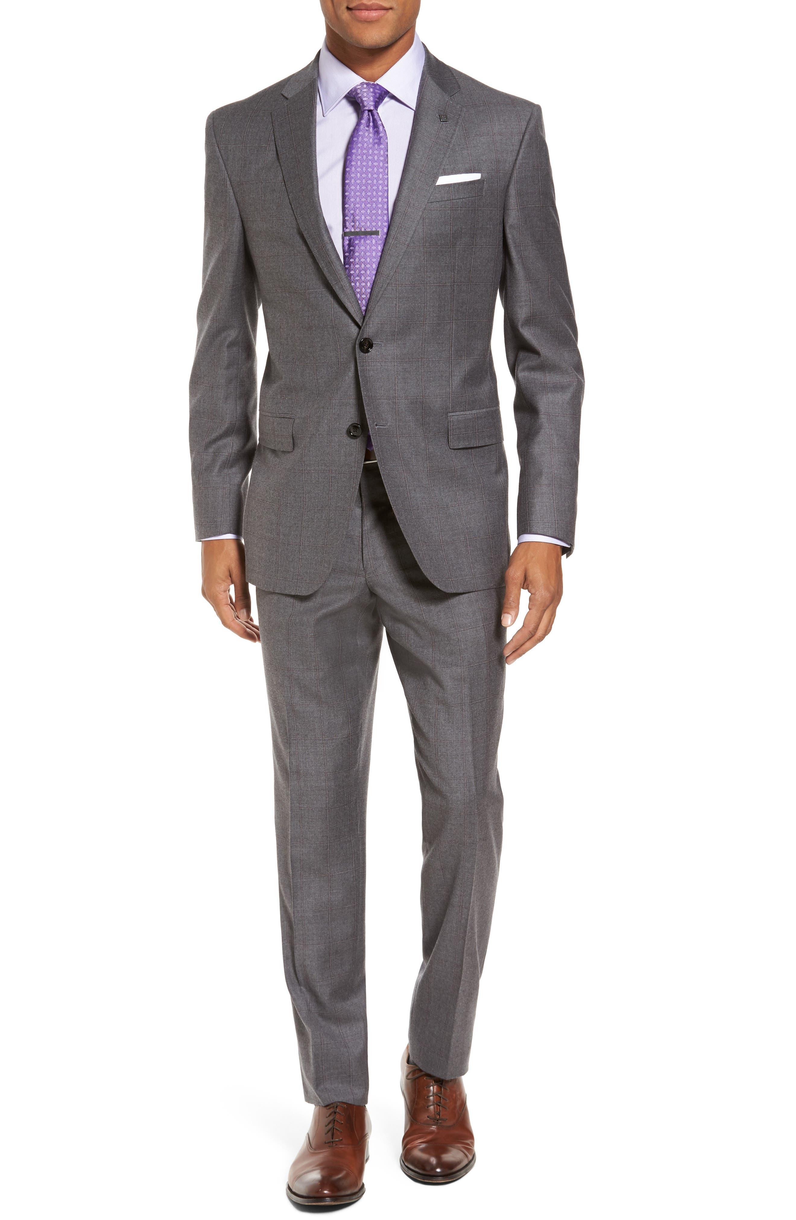Main Image - Ted Baker London Trim Fit Windowpane Wool Suit
