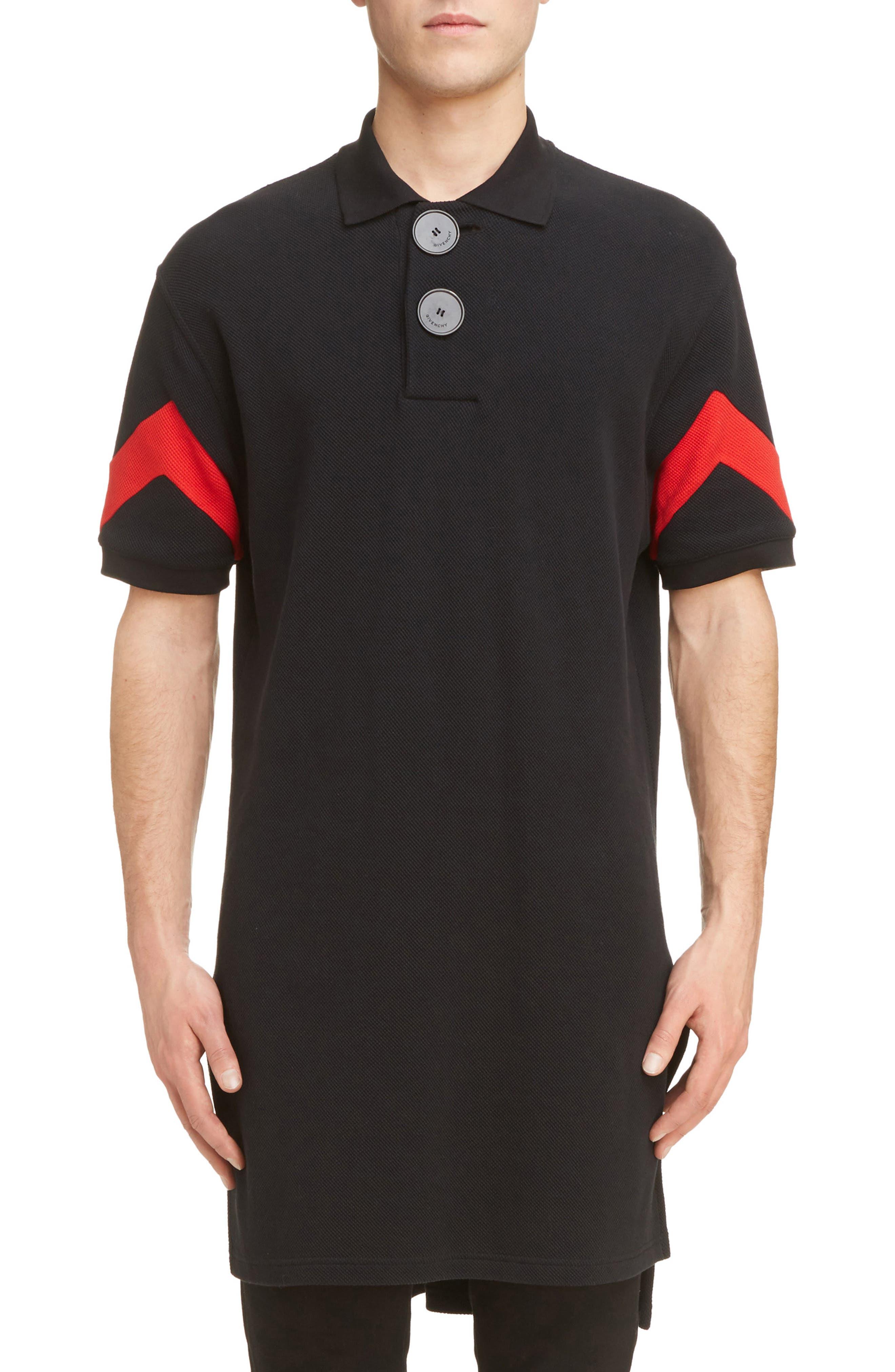 Cuban Fit Stripe Sleeve Polo,                         Main,                         color, Black