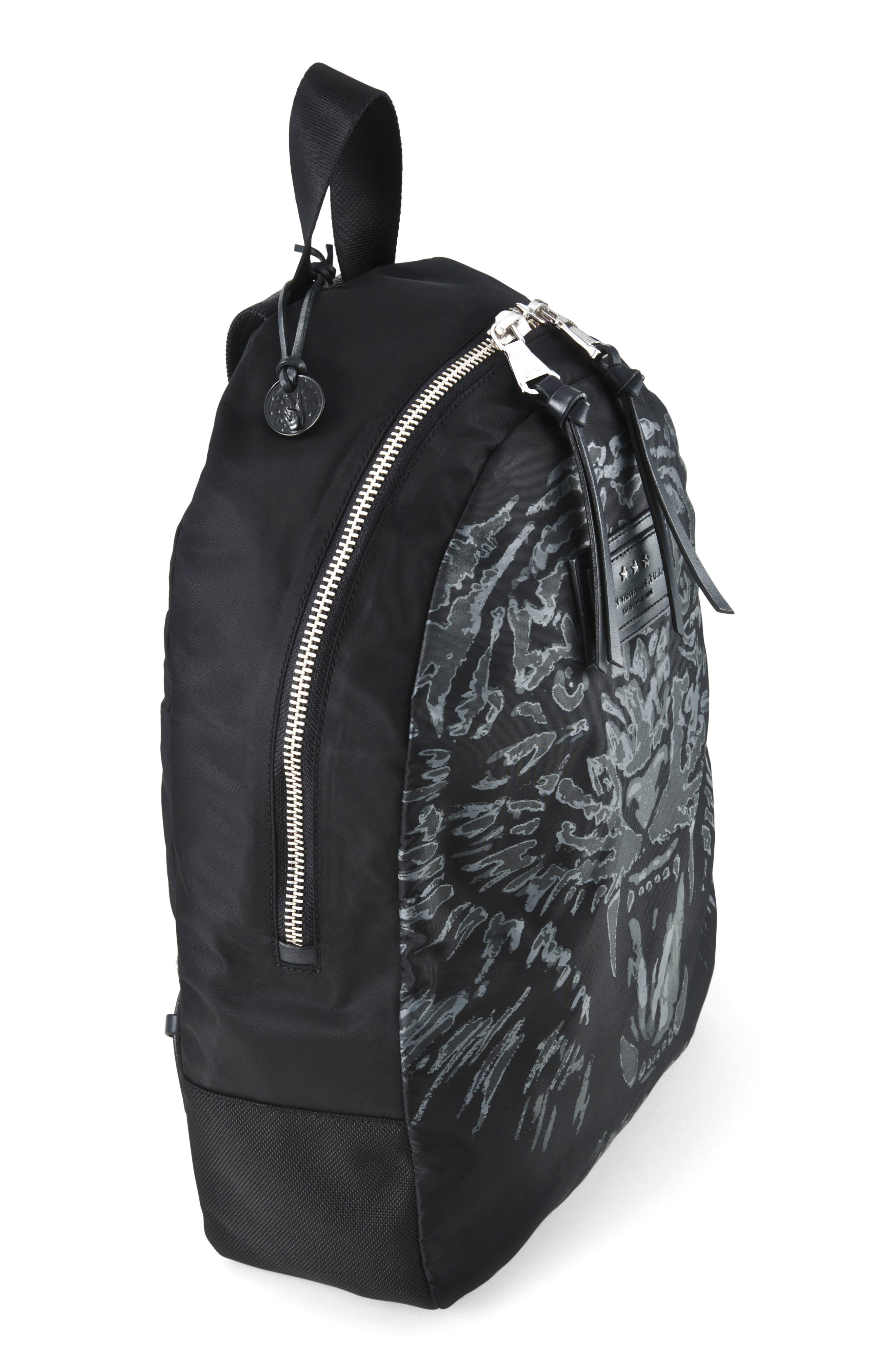 Tiger Print Backpack,                             Alternate thumbnail 2, color,                             Black