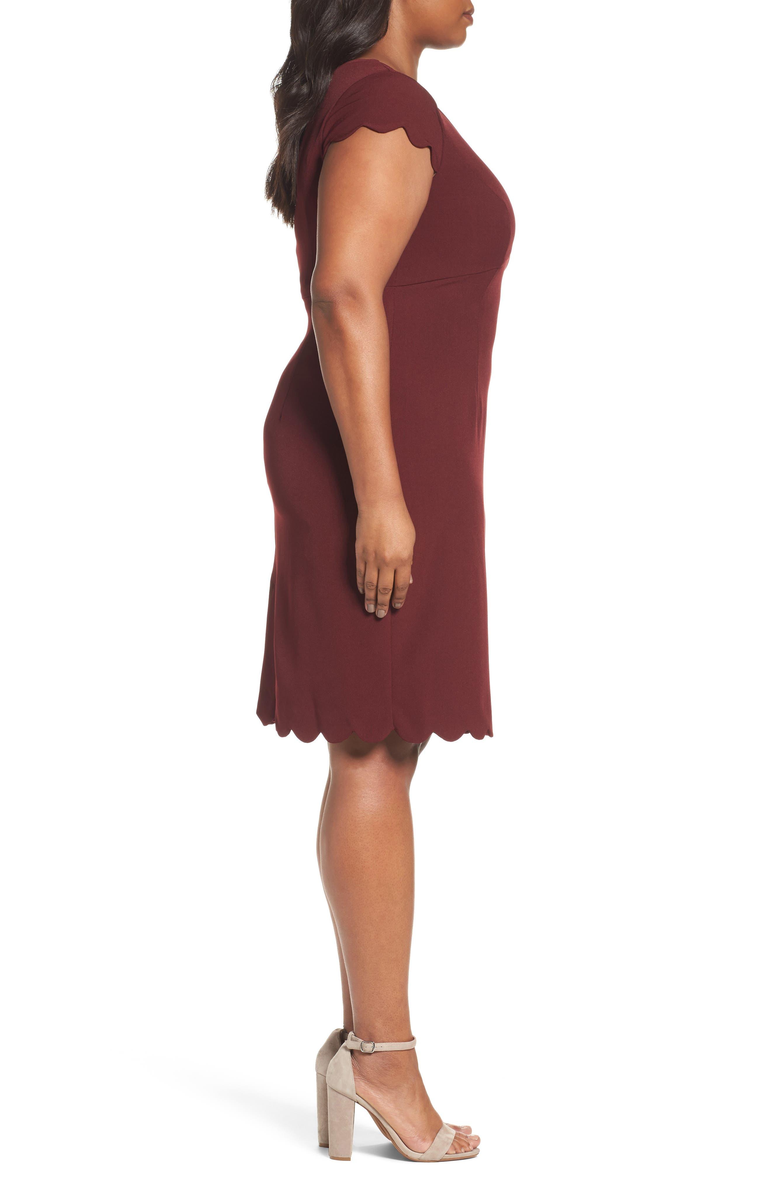 Scalloped Crepe Sheath Dress,                             Alternate thumbnail 3, color,                             Marsala
