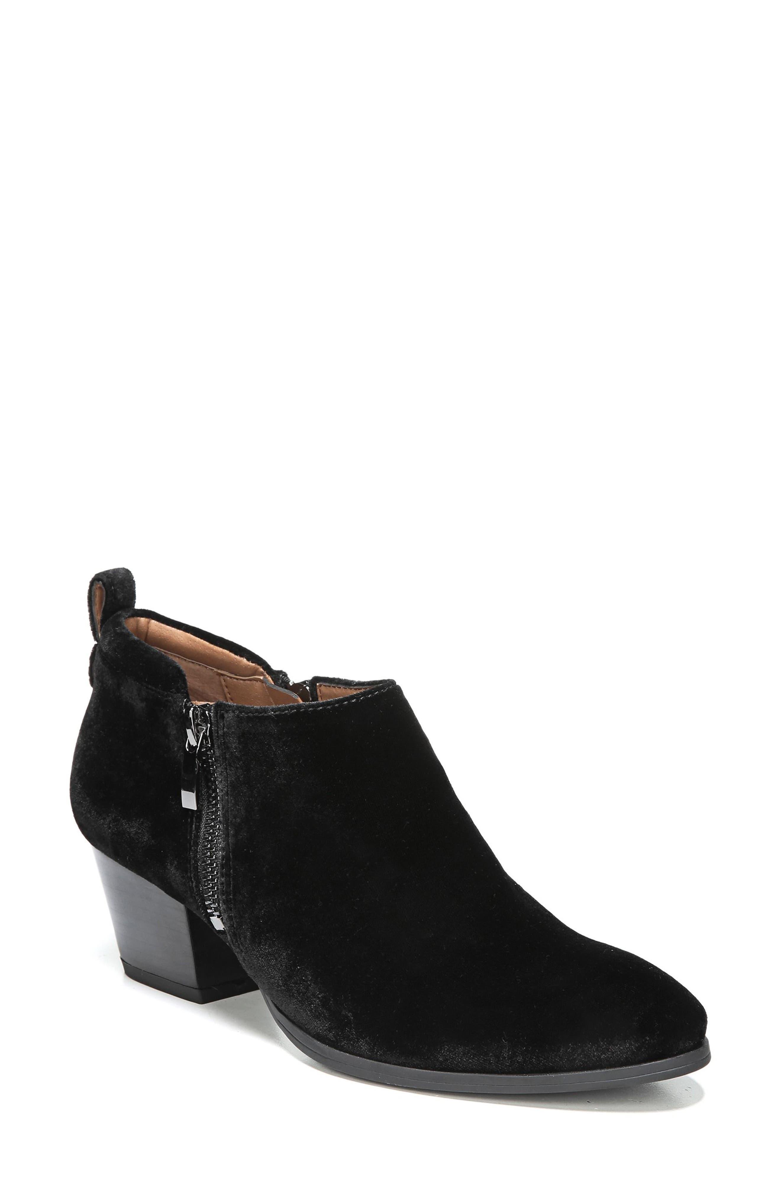 'Granite' Block Heel Bootie,                             Main thumbnail 1, color,                             Black Velvet
