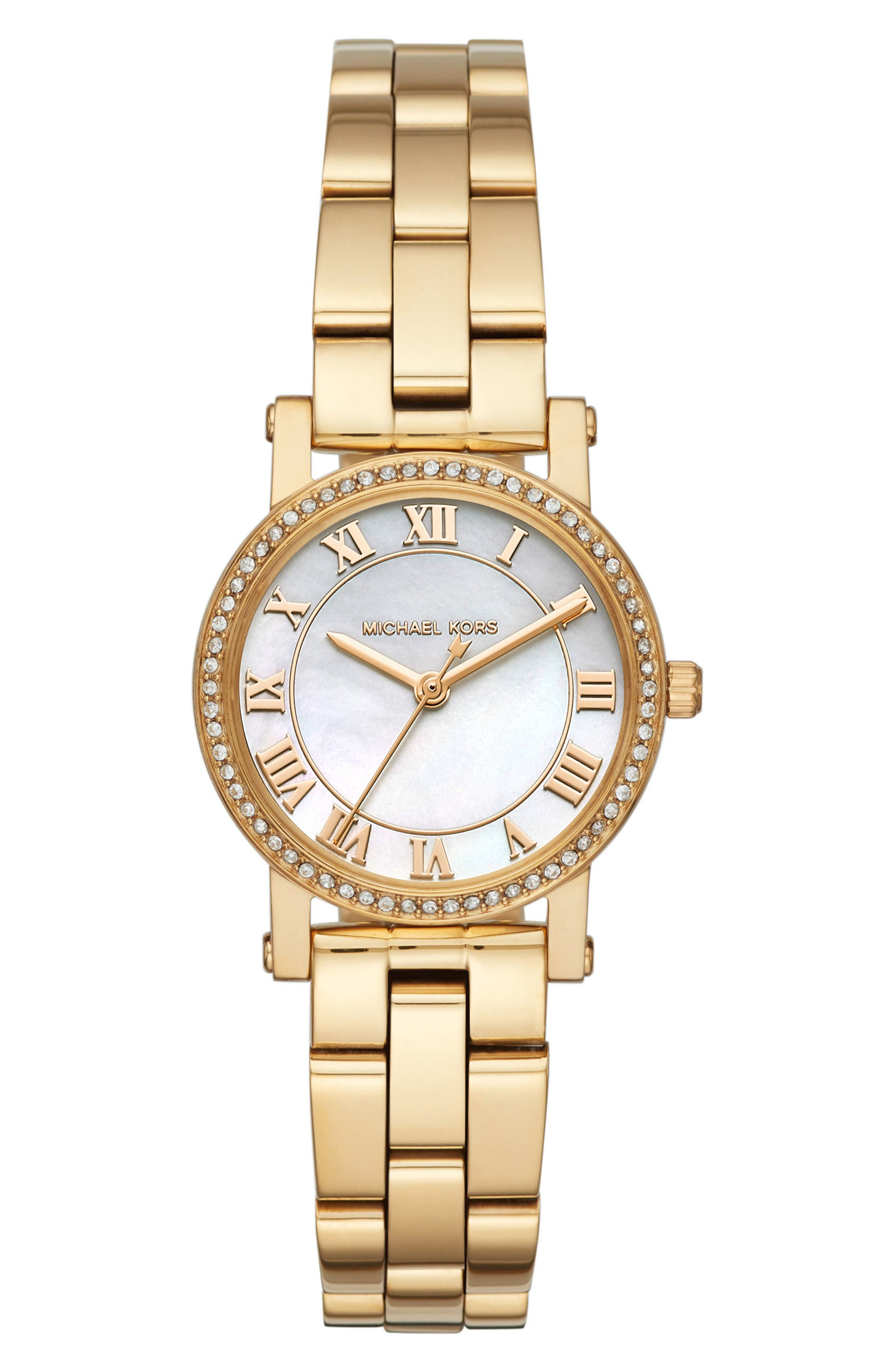 Petite Norie Pavé Bracelet Watch, 28mm,                         Main,                         color, Gold/ Mop/ Gold