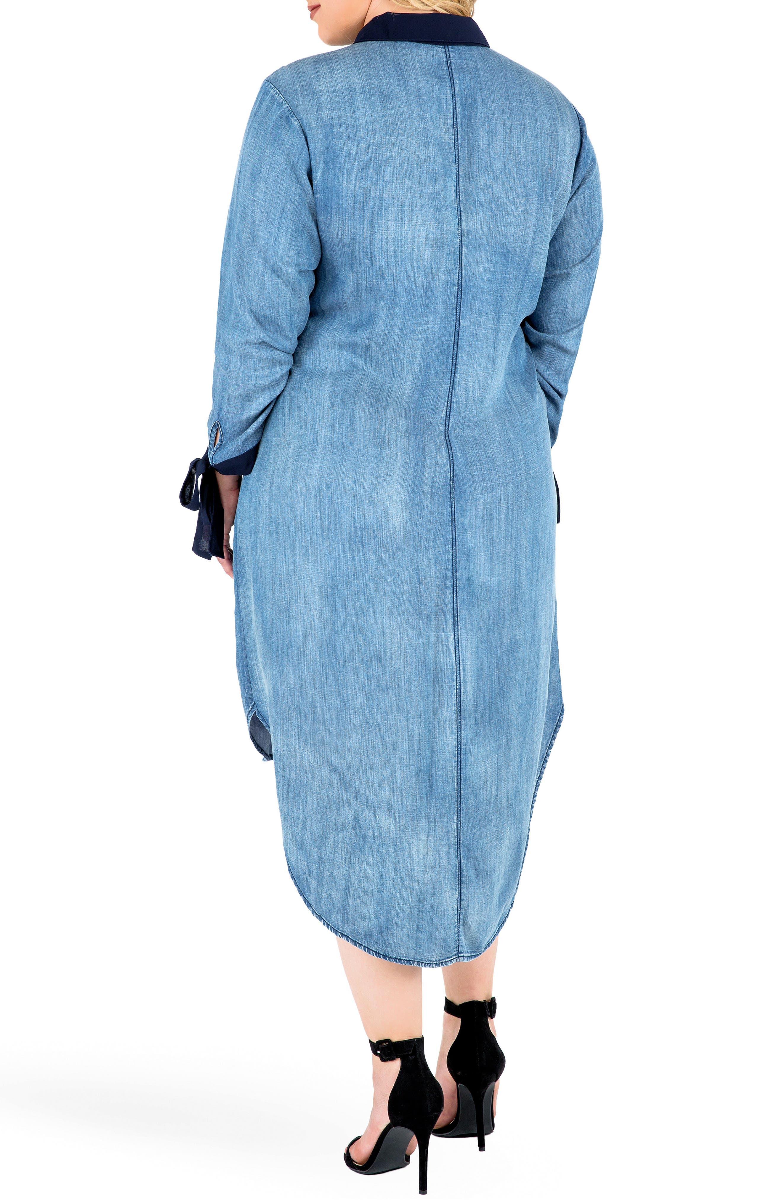 Alternate Image 3  - Standards & Practices High/Low Denim Shirtdress (Plus Size)