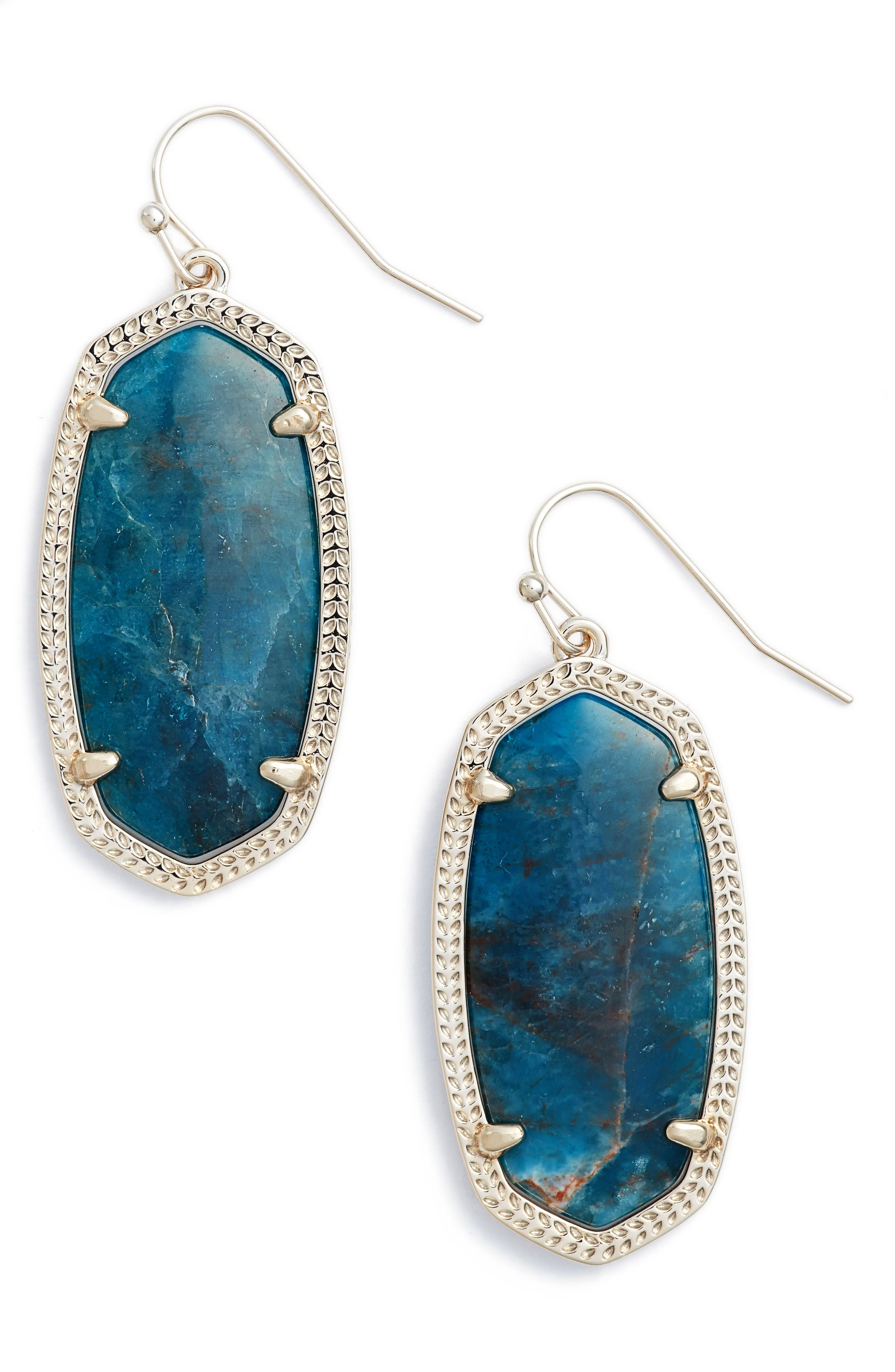 Elle Drop Earrings,                         Main,                         color, Aqua Apatite/ Brass