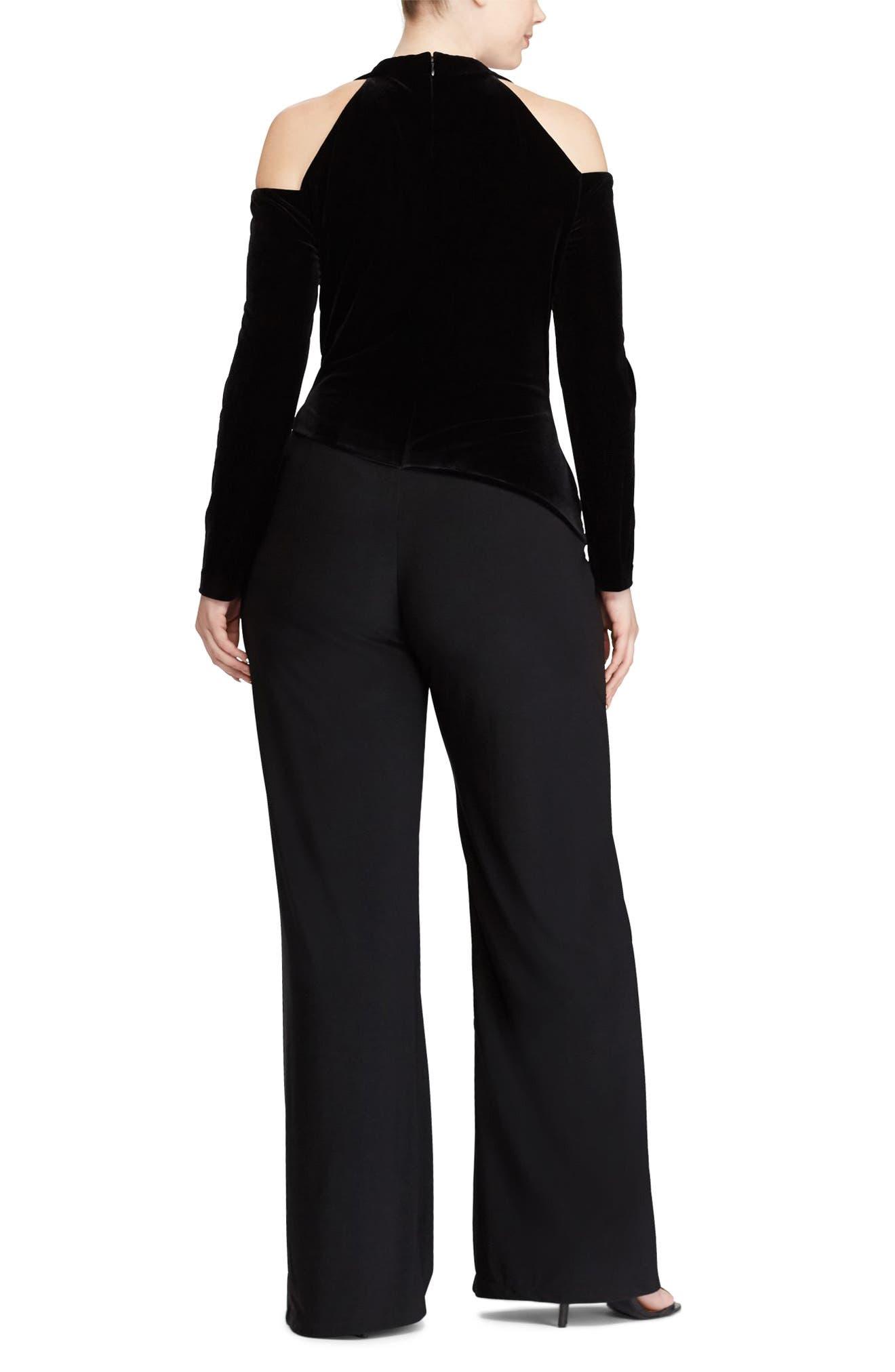 Alternate Image 2  - Lauren Ralph Lauren Stretch Velvet & Jersey Jumpsuit (Plus Size)