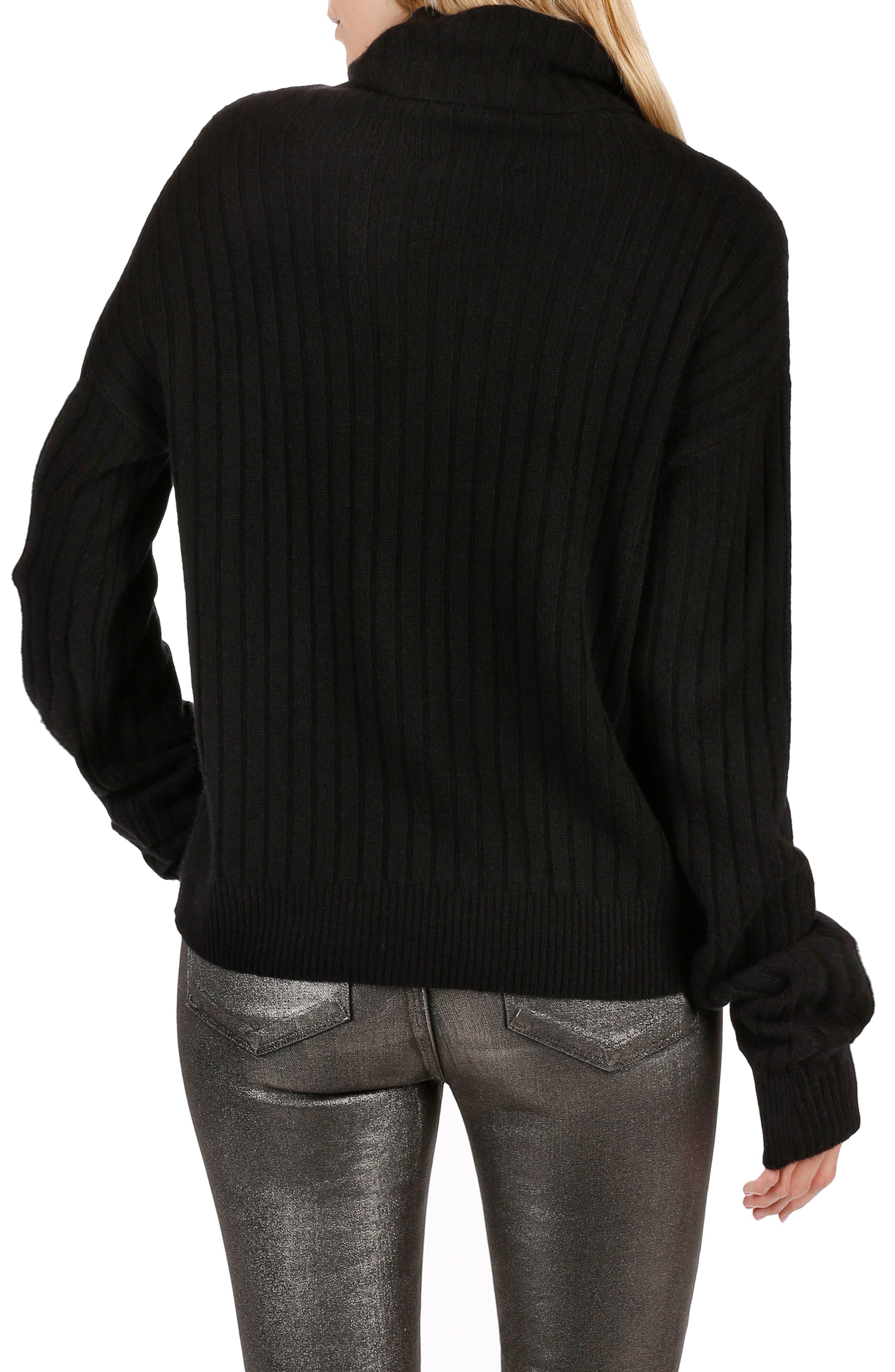 Rosie HW x PAIGE Mina Turtleneck Sweater,                             Alternate thumbnail 3, color,                             Black