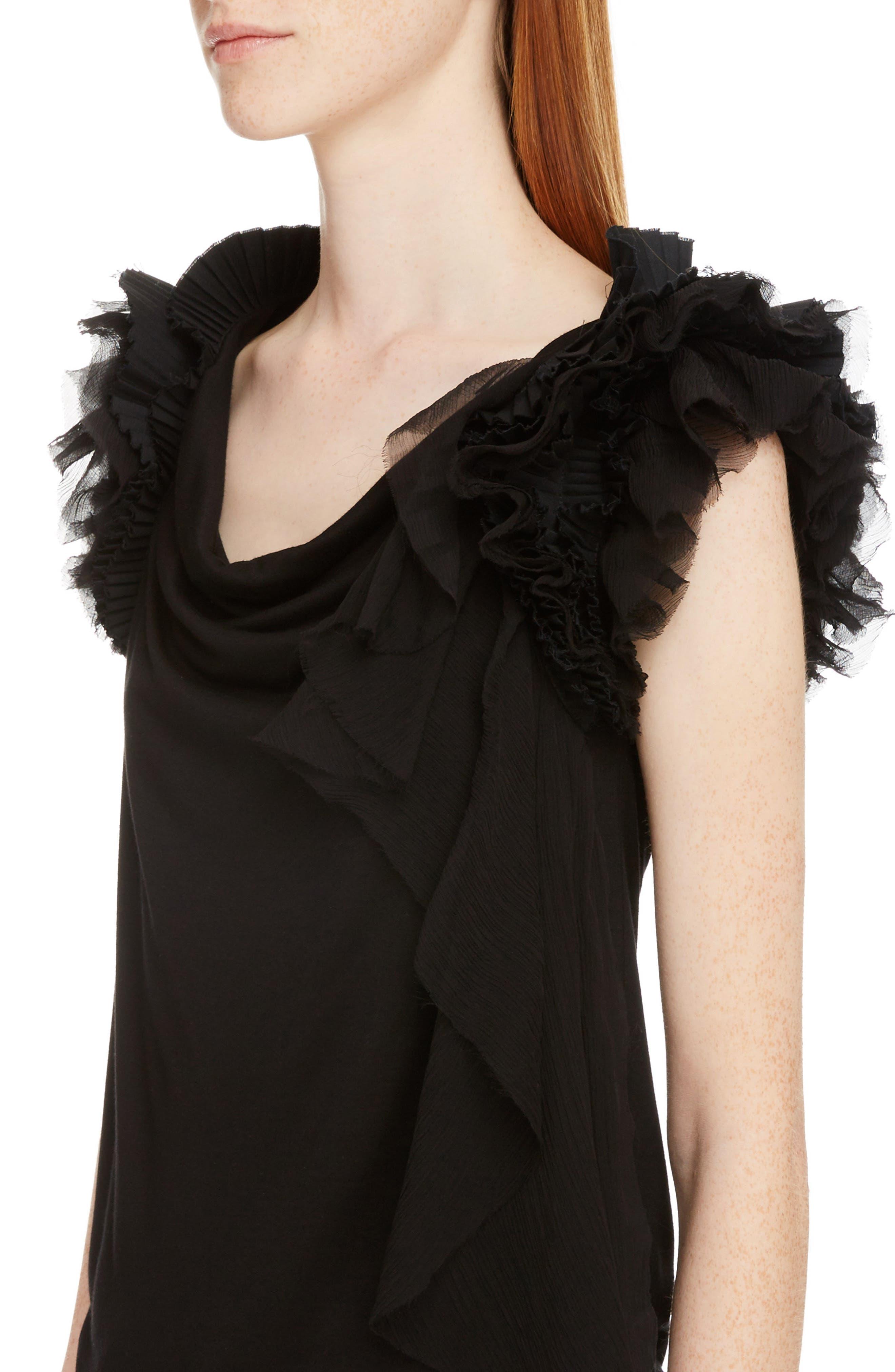 Ruffle Sleeve Jersey Top,                             Alternate thumbnail 4, color,                             Black