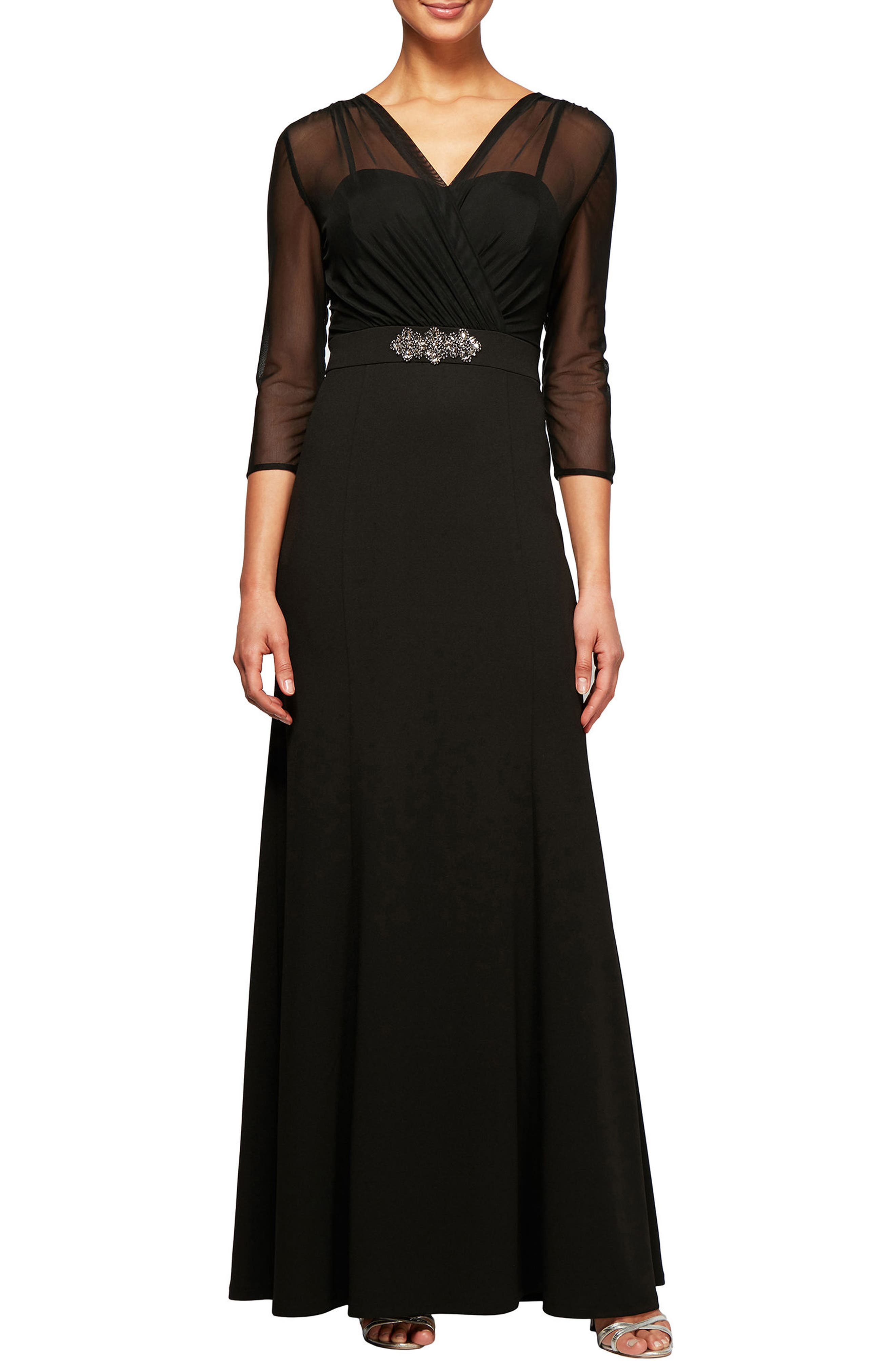 Embellished Illusion Yoke Gown,                         Main,                         color, Black